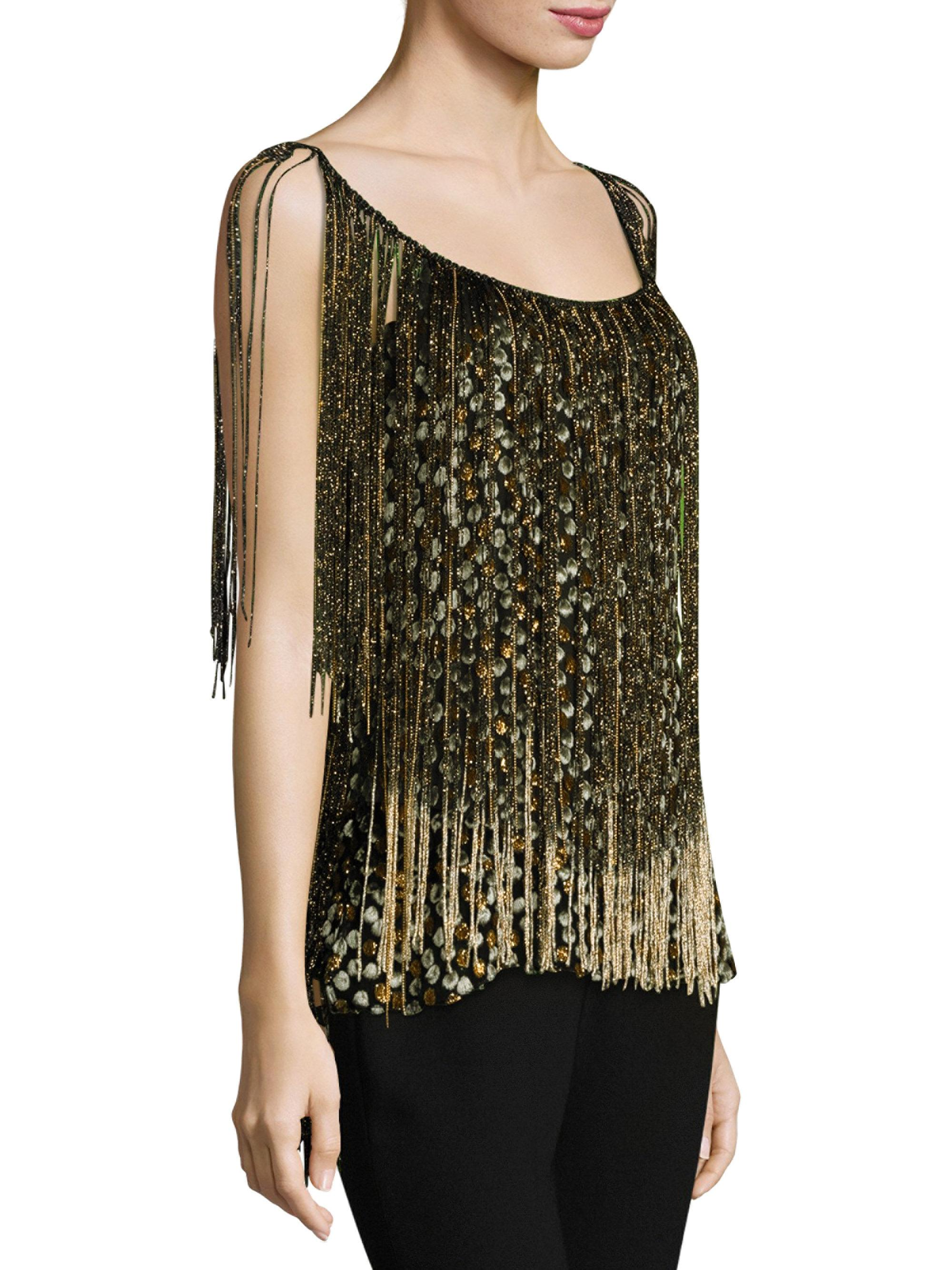 Elie Tahari Woman Jacobia Fringed Metallic Flocked Chiffon Top Gold Size M Elie Tahari Cheap Sale Shop For Outlet Websites Prices For Sale Peetn