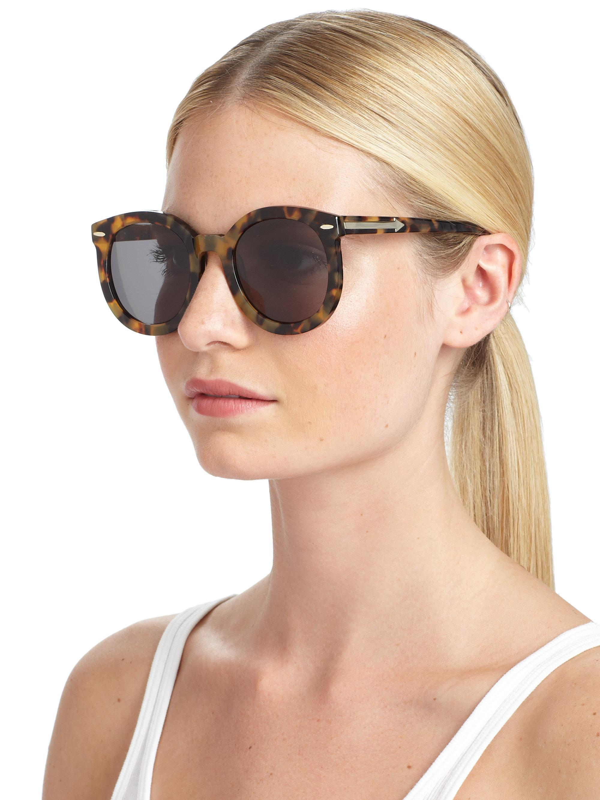 7ad55d6f9eb Lyst - Karen Walker Super Duper Strength Round Sunglasses tortoise ...