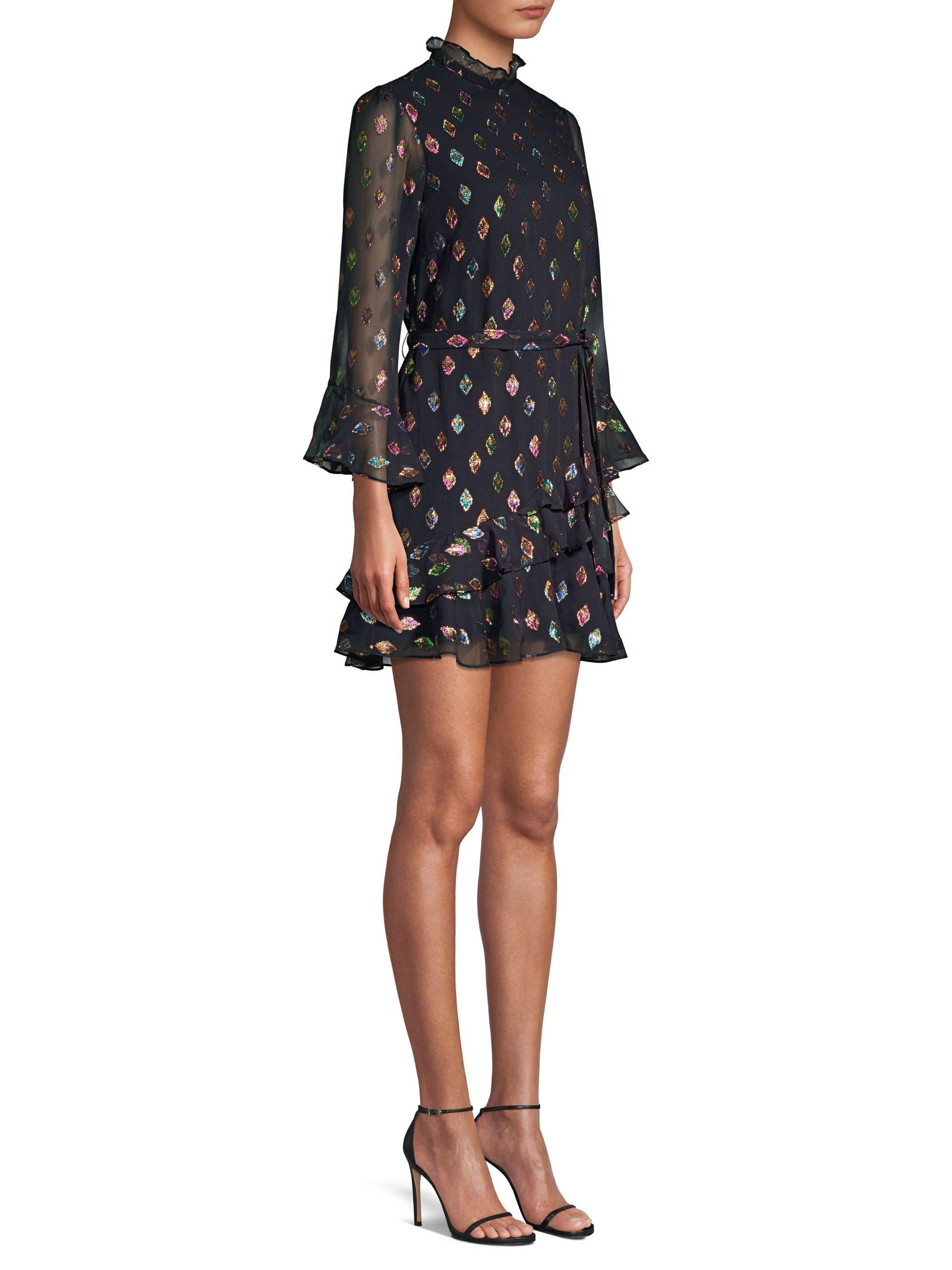 b1405257a0568 Saloni Women's Marissa Lurex Mini Dress - Black Rainbow - Size 8 in ...