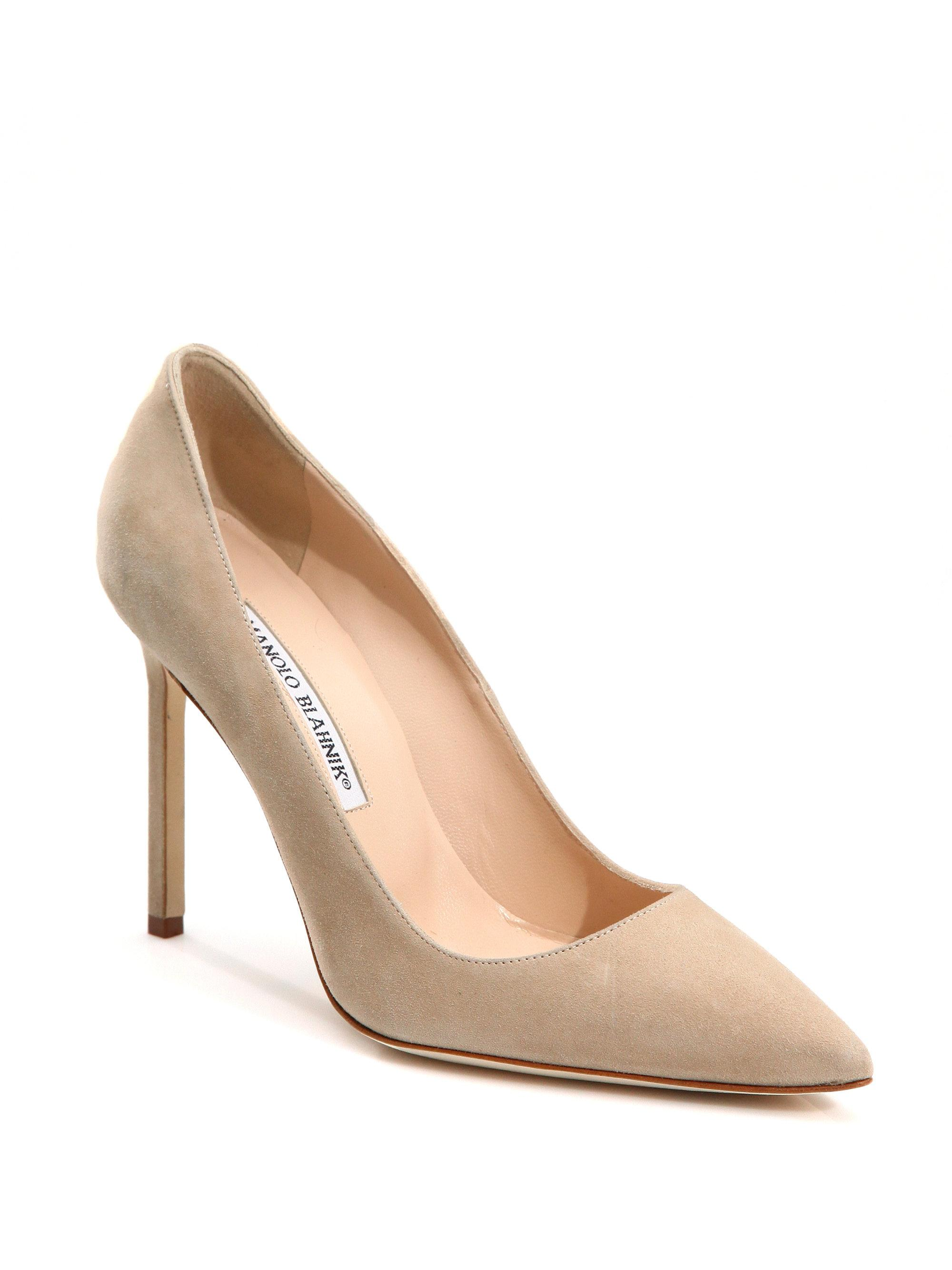 Manolo Blahnik. Women's Natural Bb 105 Suede Point Toe Pumps
