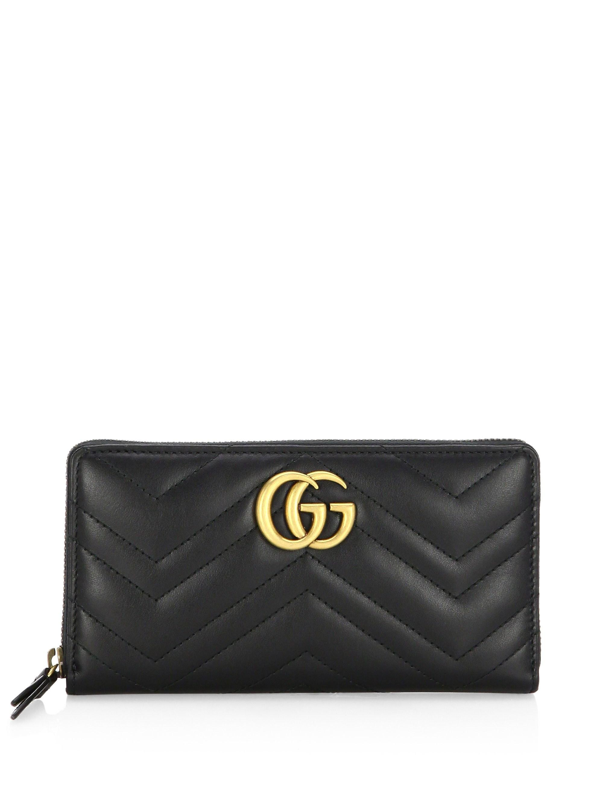 27c794058743 Gucci Quilted Chevron Long Zip-around Wallet in Black - Lyst