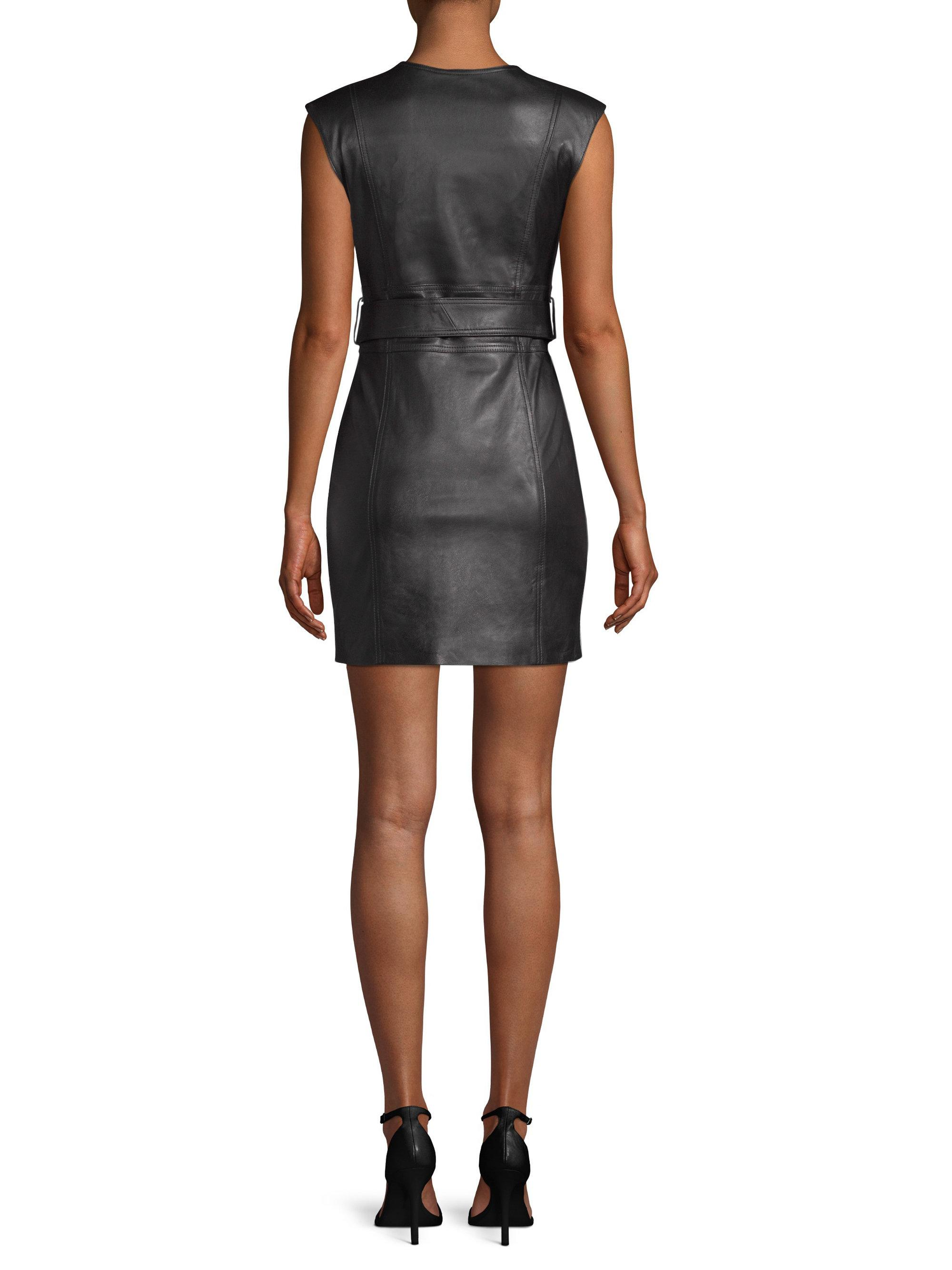 Lyst - Misha Collection Loren Leather Moto Dress in Black