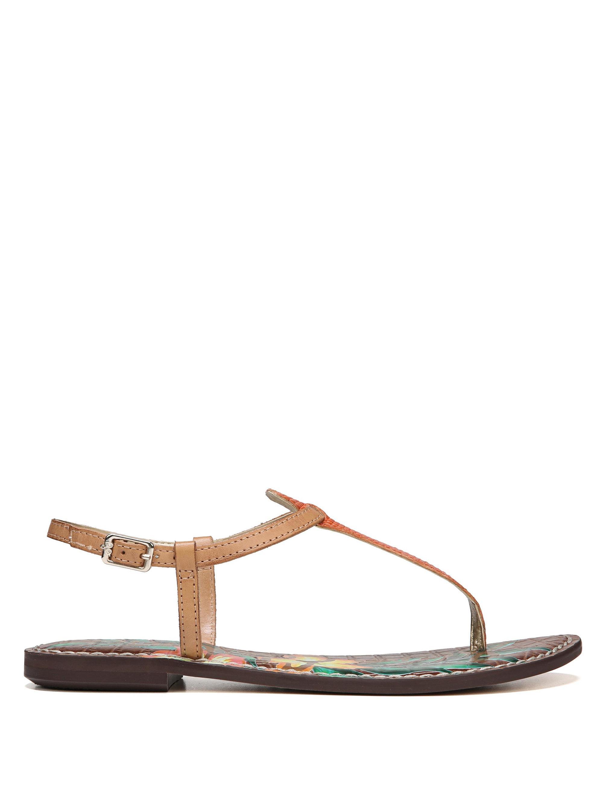 Sam Edelman Gigi Lizard Print Floral Leather Thong Sandals