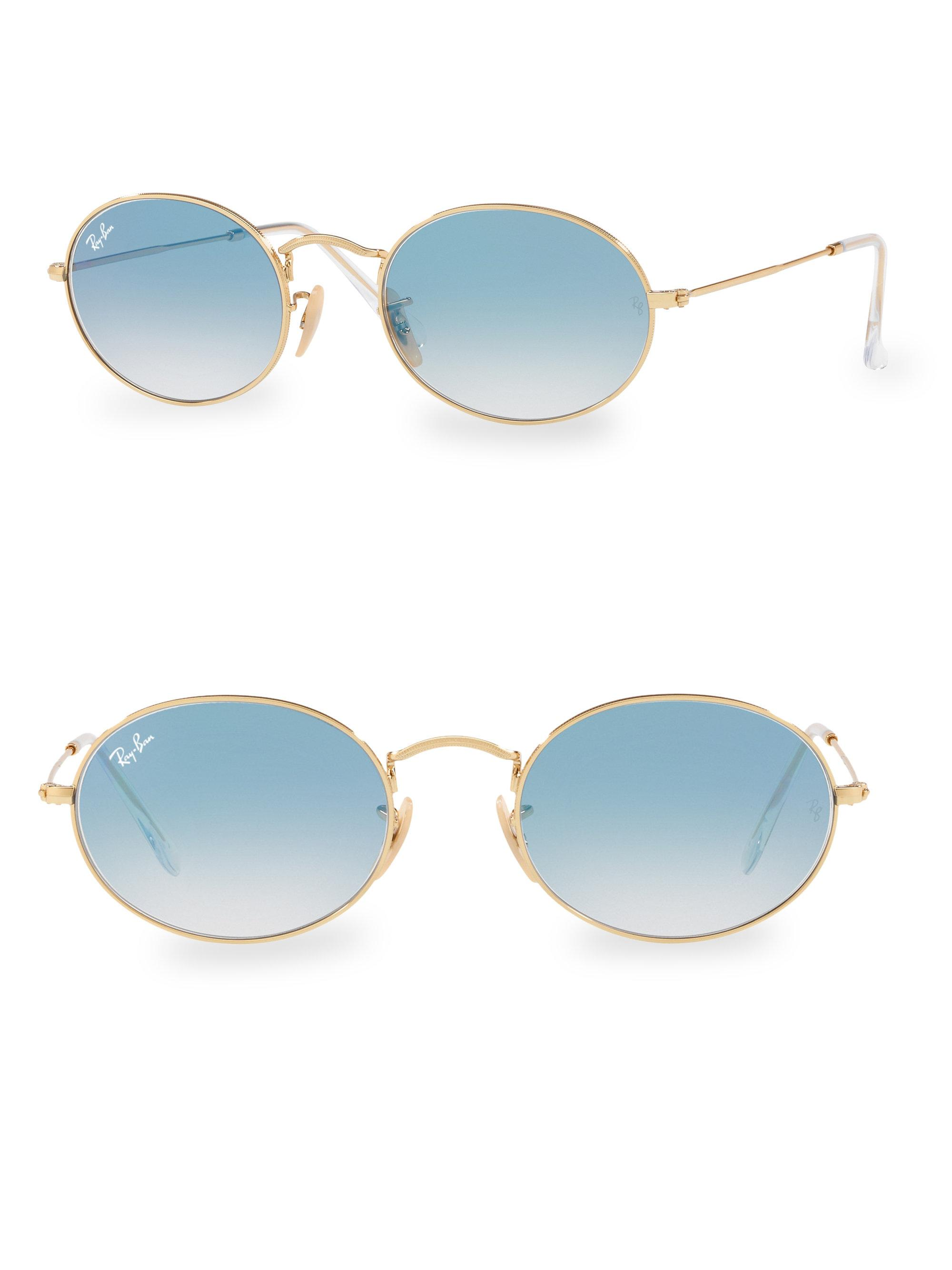 Lyst - Ray-Ban 54mm Gold Oval Wire Sunglasses in Metallic