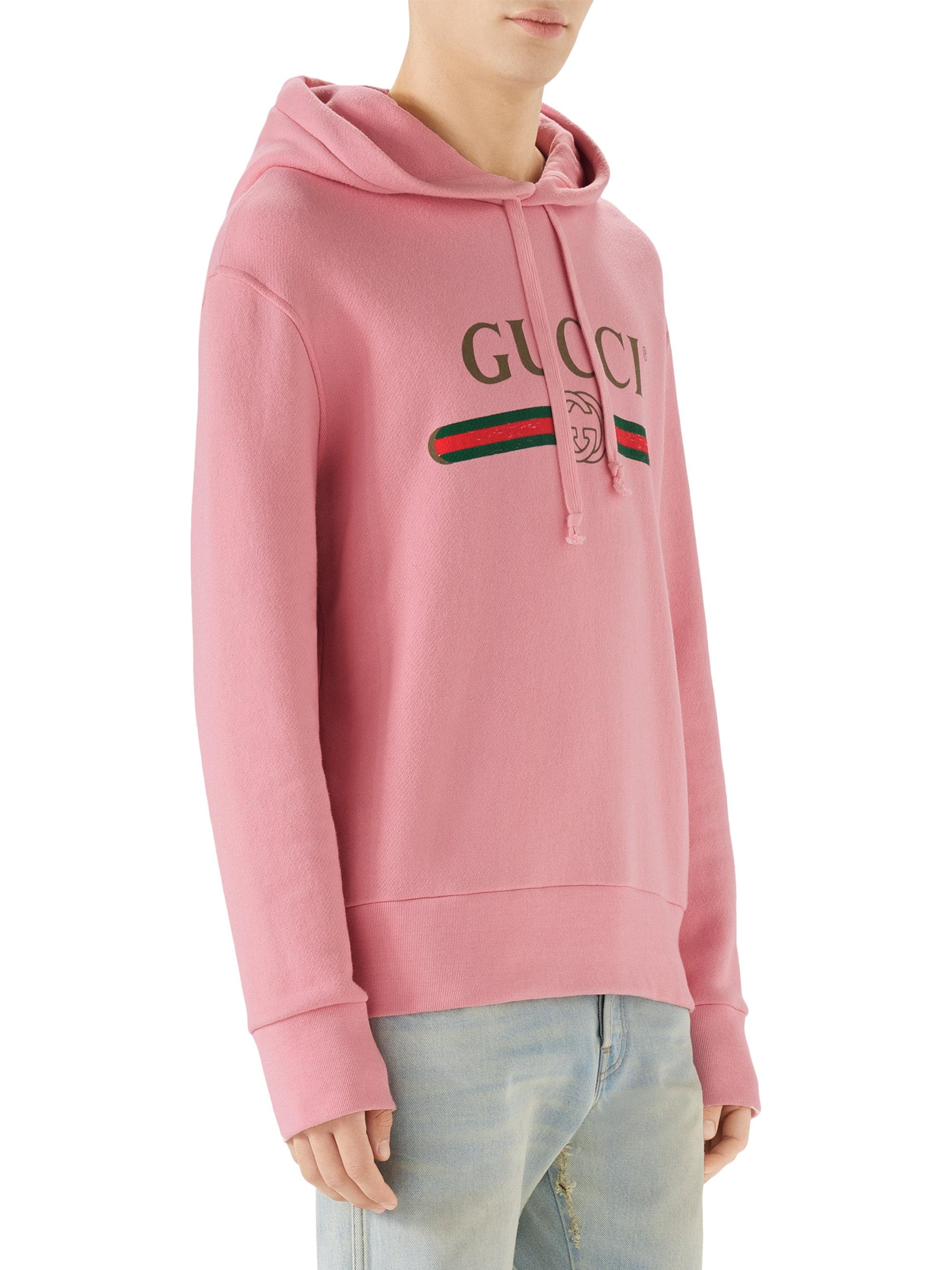 8450ab055b4 Gucci Hooded Dragon Graphic Sweatshirt in Pink for Men - Lyst