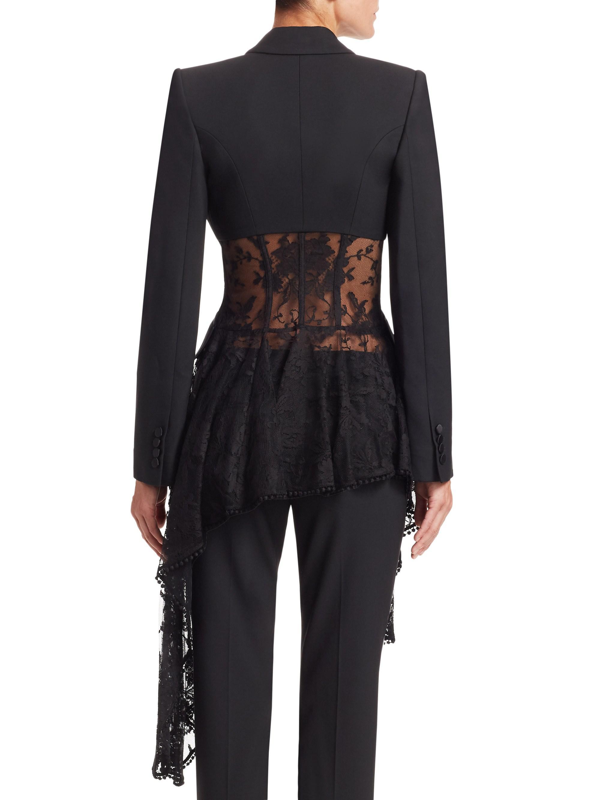 39005ee7f4 Lyst - Alexander McQueen Lace Drape Corset Jacket in Black