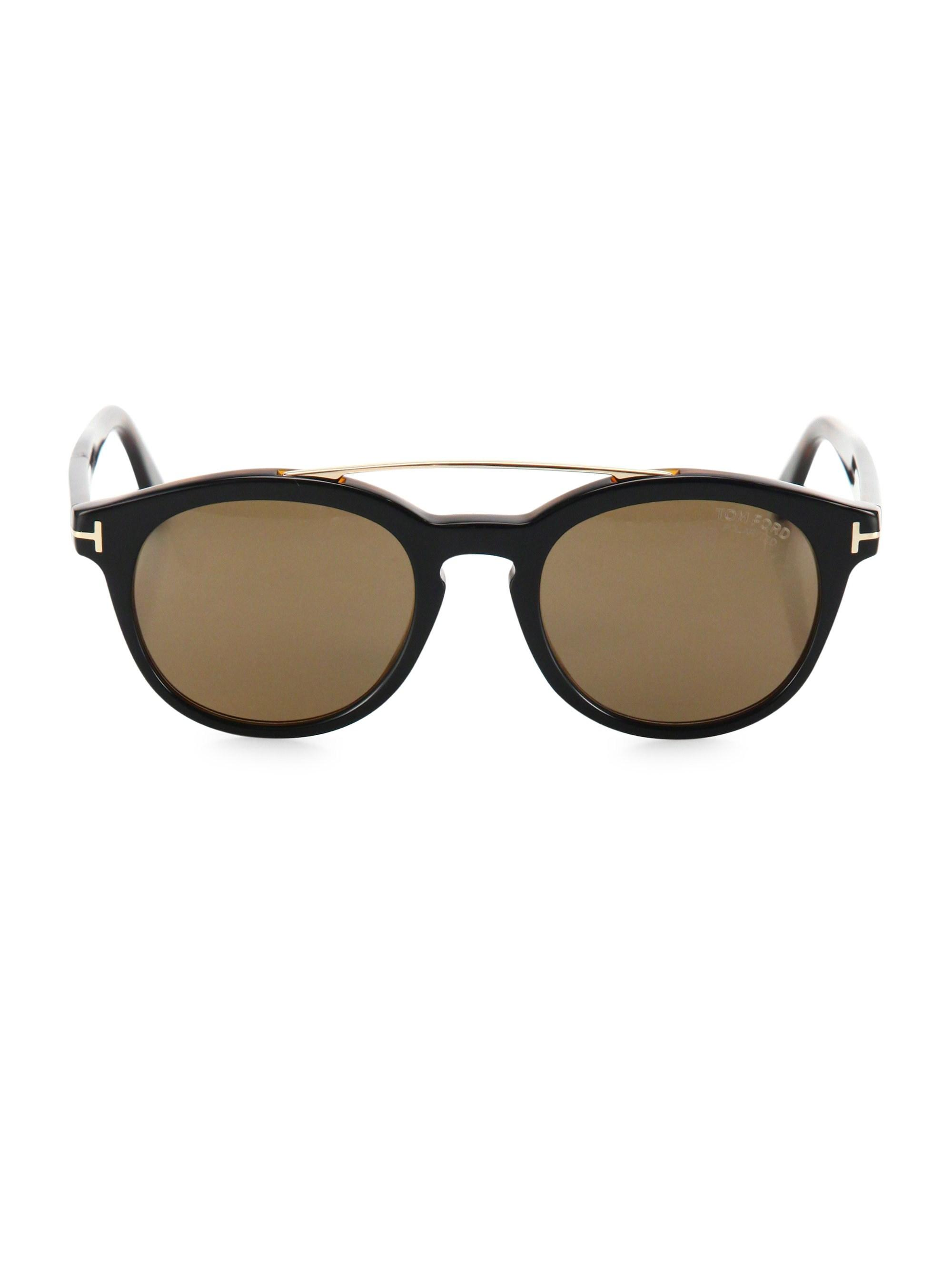 1e4a6081e24 Lyst - Tom Ford Newman 53mm Round Sunglasses in Black for Men