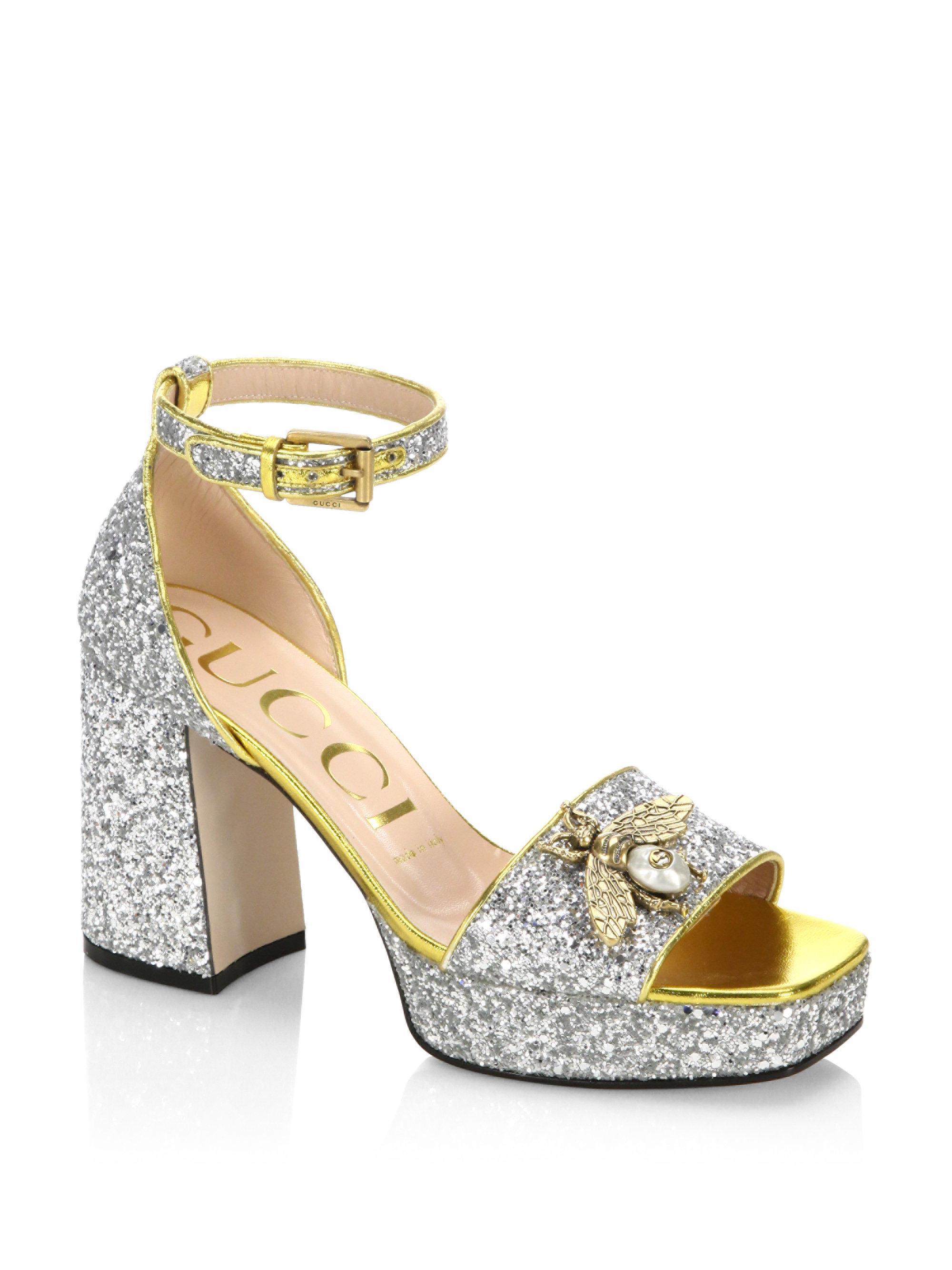 9f7499726a53 Gucci Soko Glitter Sandals in Metallic - Lyst