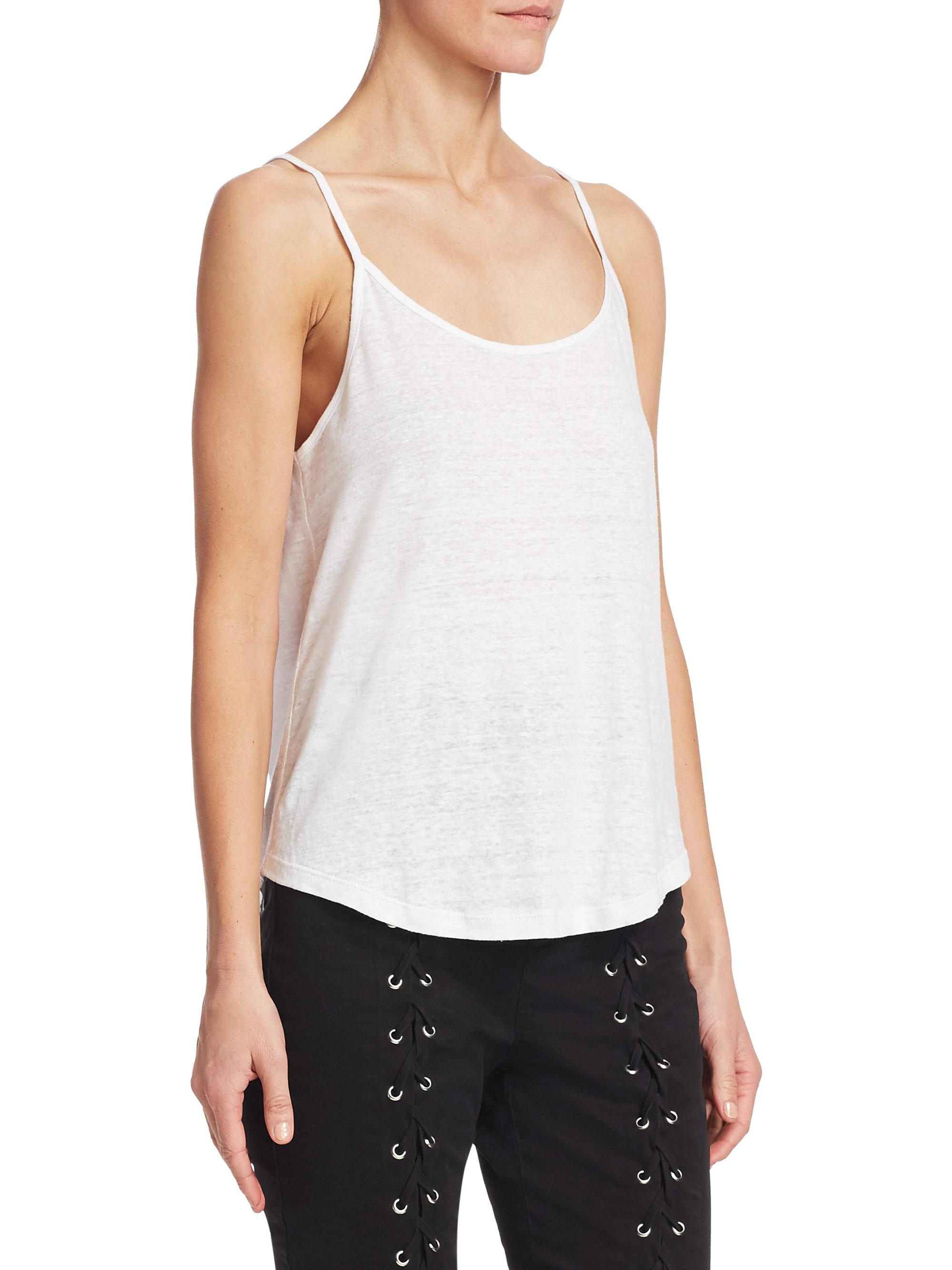 Alc Johnny Solid Tank In White Lyst Raisa Blouse Light Blue Beatrice Clothing Gallery