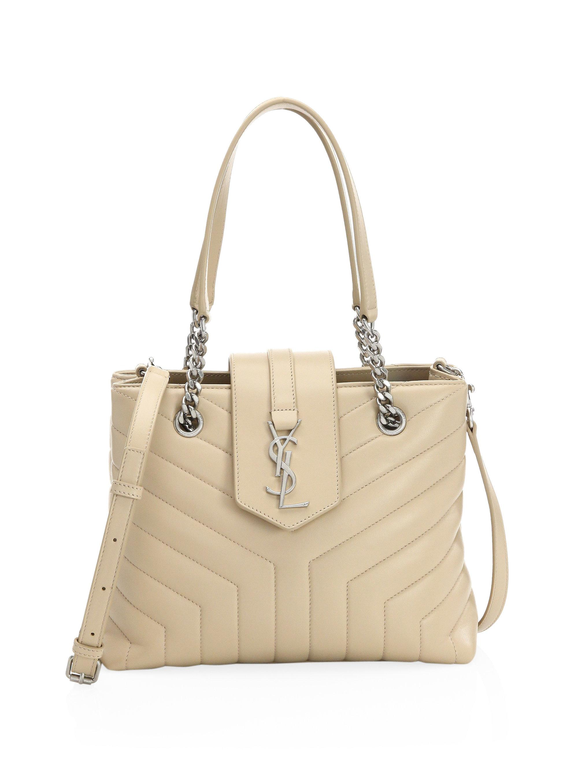 566a8bf423 Saint Laurent Small Lou Lou Leather Shopping Bag in Natural - Lyst