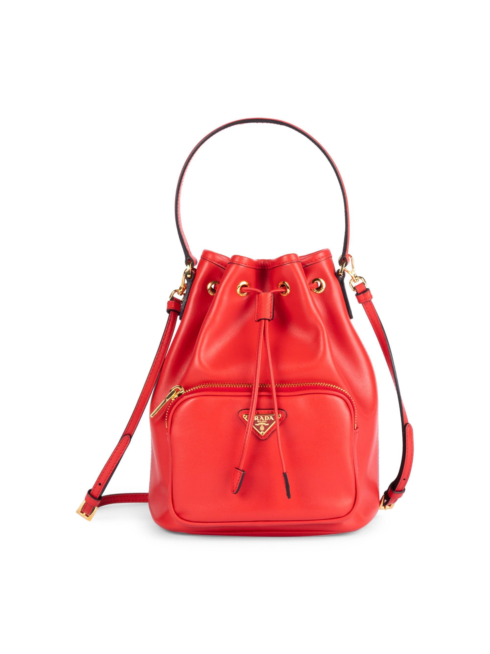 29258410c231b9 Prada Leather Bucket Bag in Red - Lyst