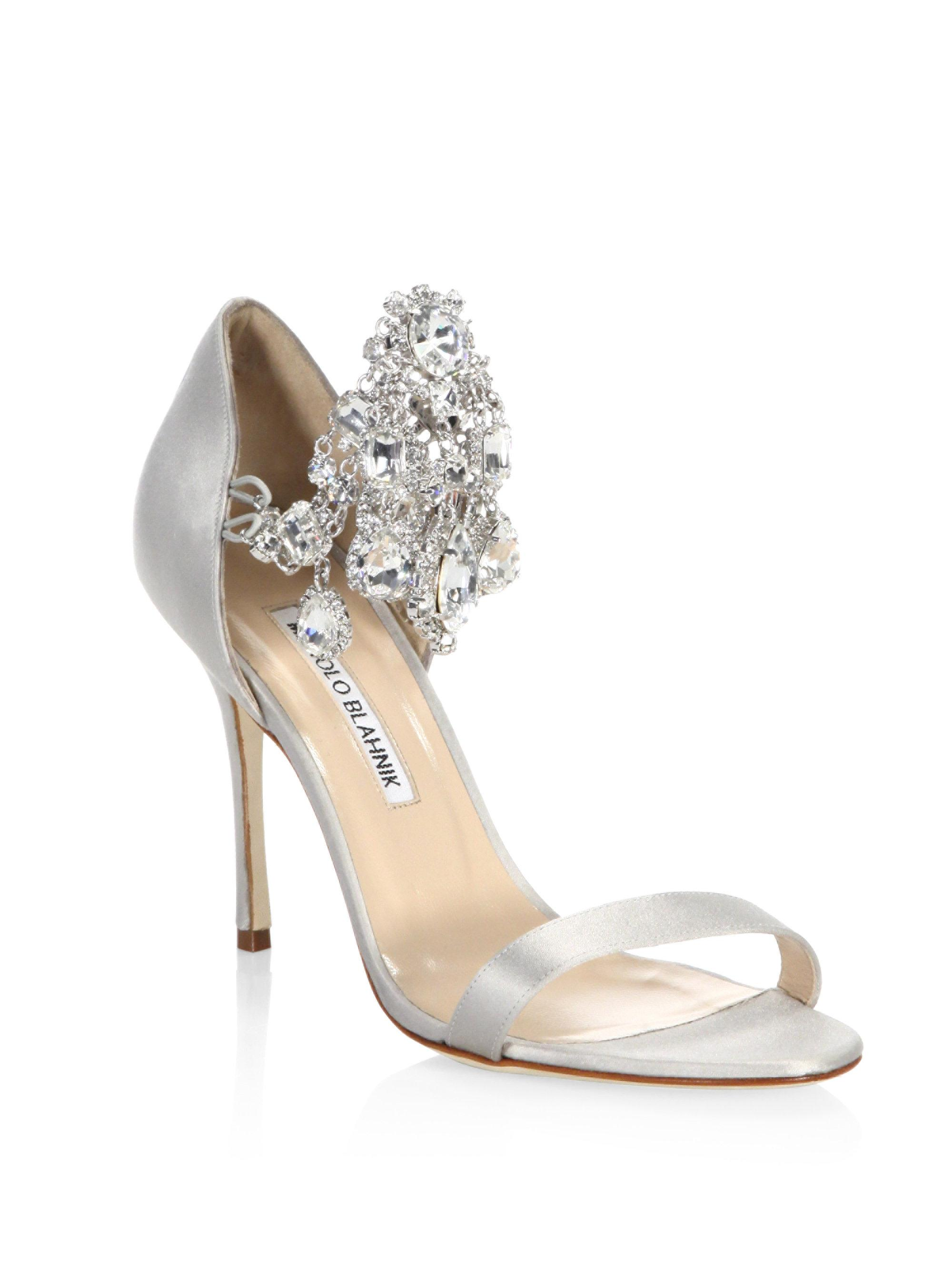 Manolo Blahnik Ivory And Black Cap Toe Guingla Diamond: Manolo Blahnik Zullinsan Embellished Satin Sandals