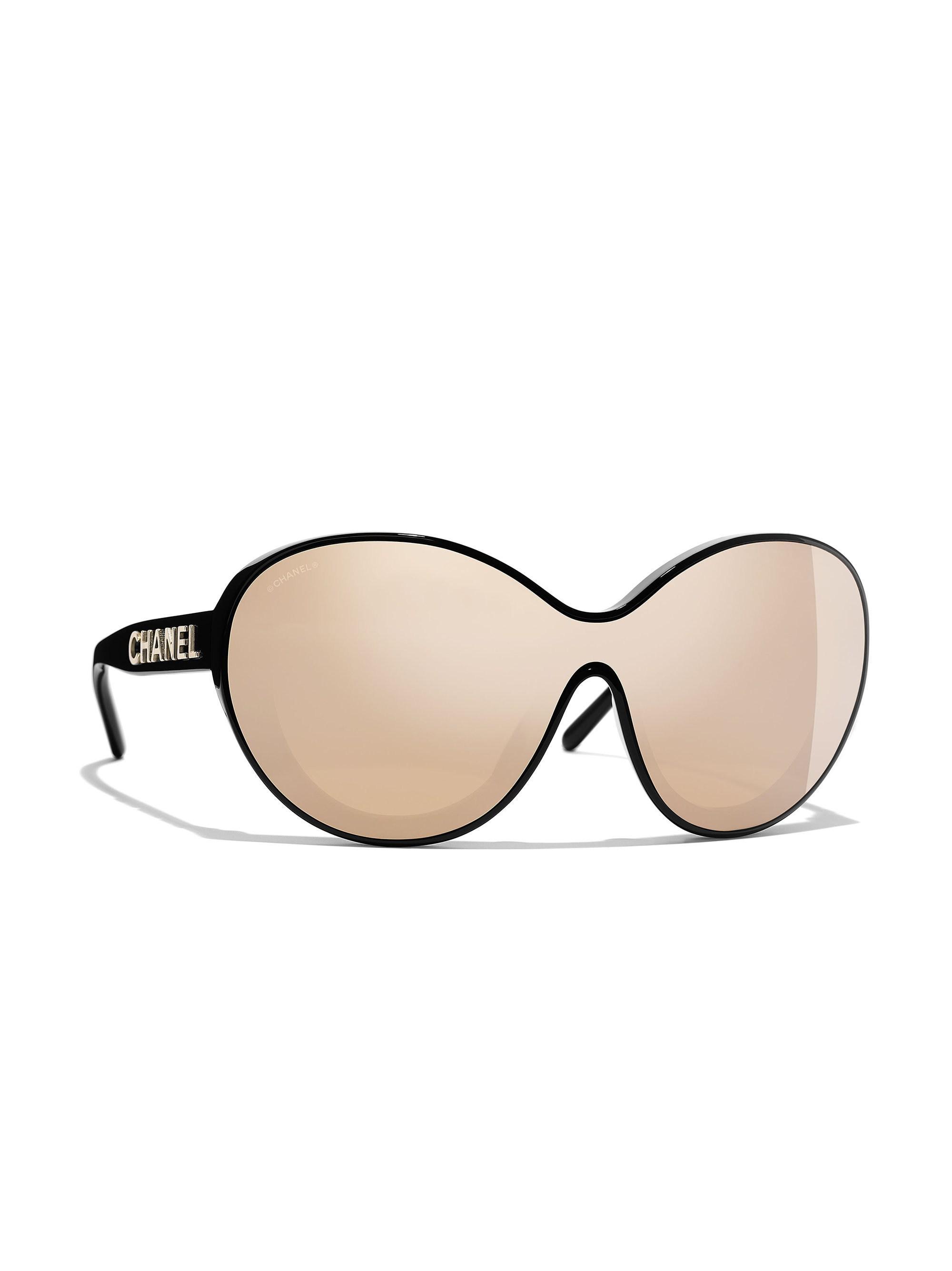 7ed85c11c63 Lyst - Chanel Shield Sunglasses in Black