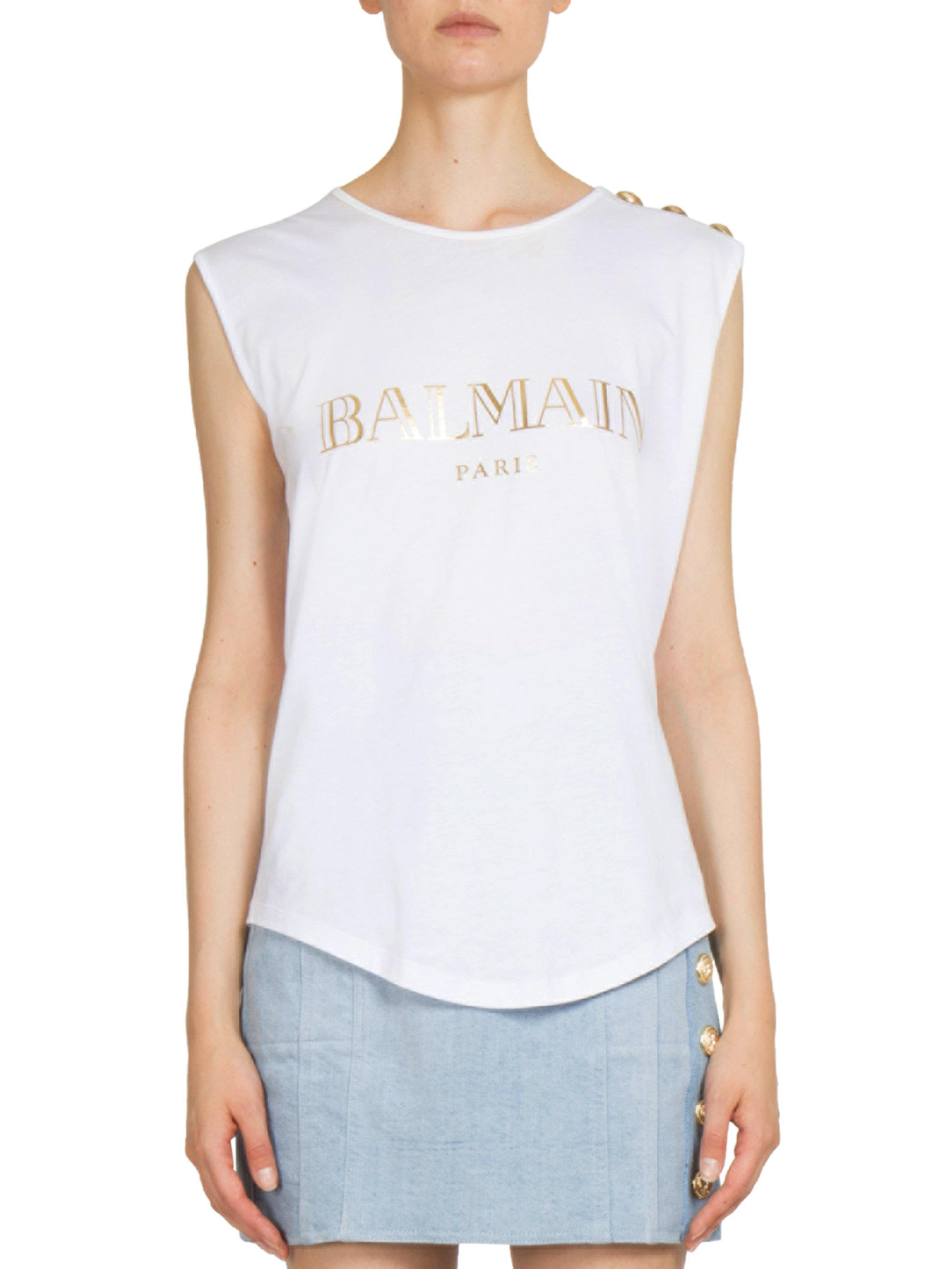 6be9c699 Balmain Cotton Logo Muscle Tee in White - Lyst