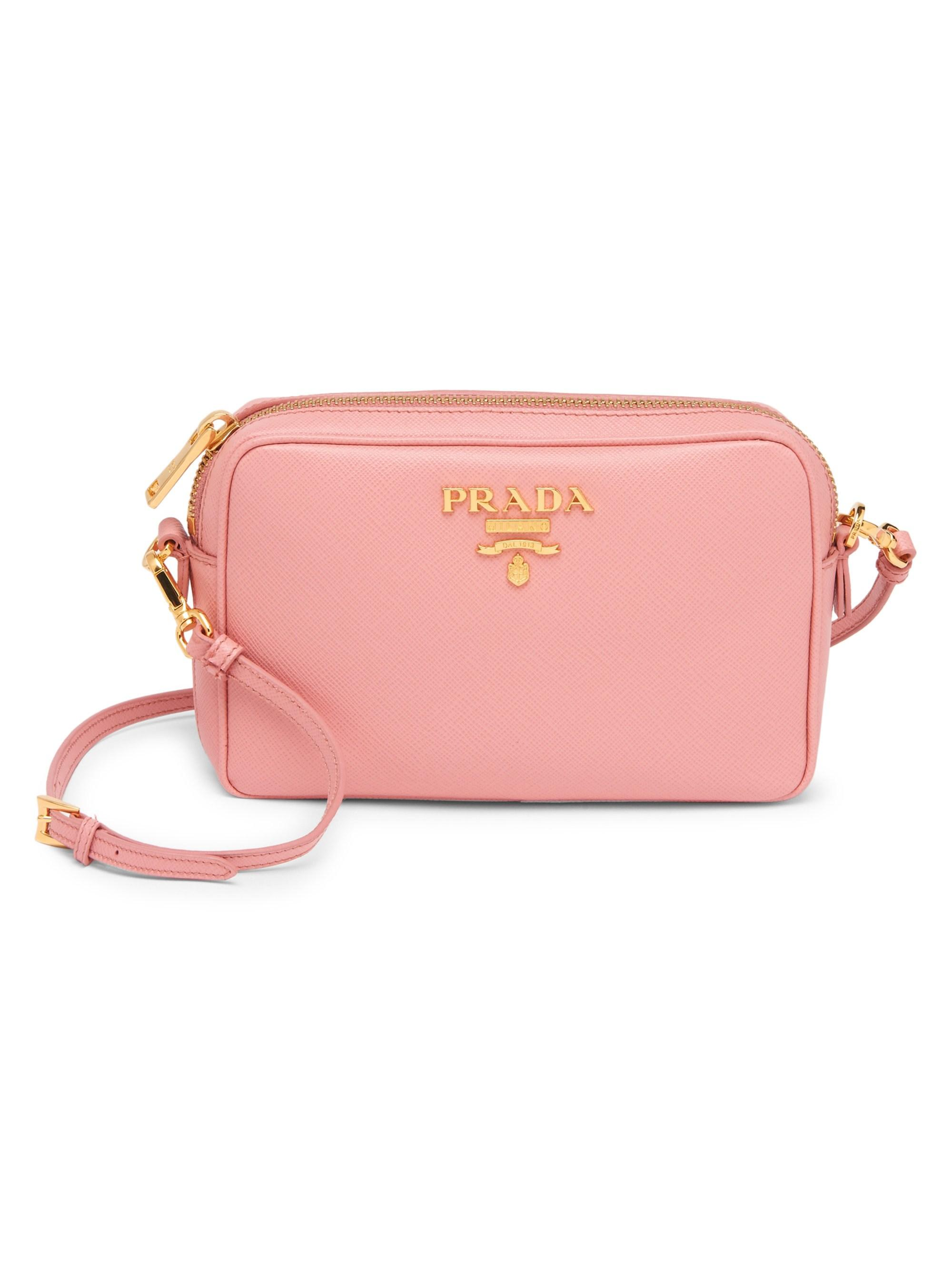 6f4cc6b0cf4d Lyst - Prada Women's Saffiano Camera Bag - Pink in Pink