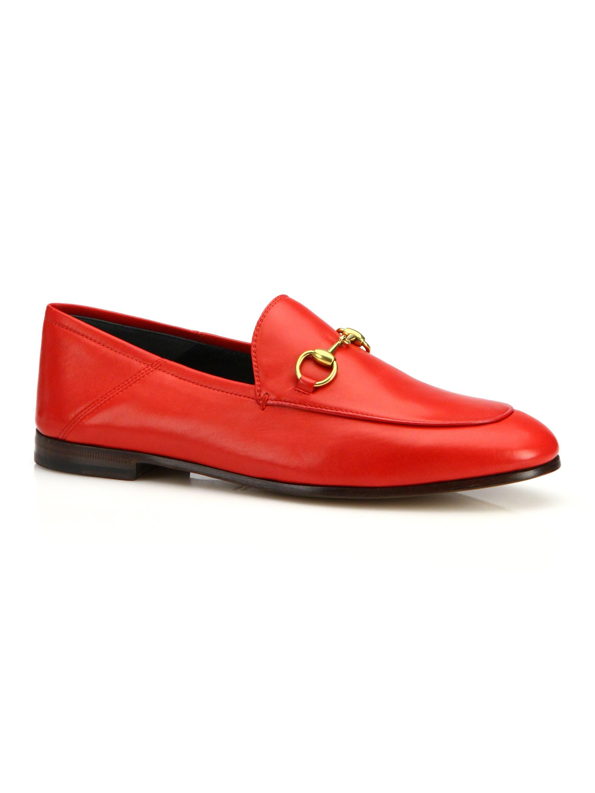 8b26baf9b5d Lyst - Gucci Brixton Leather Loafers in Red