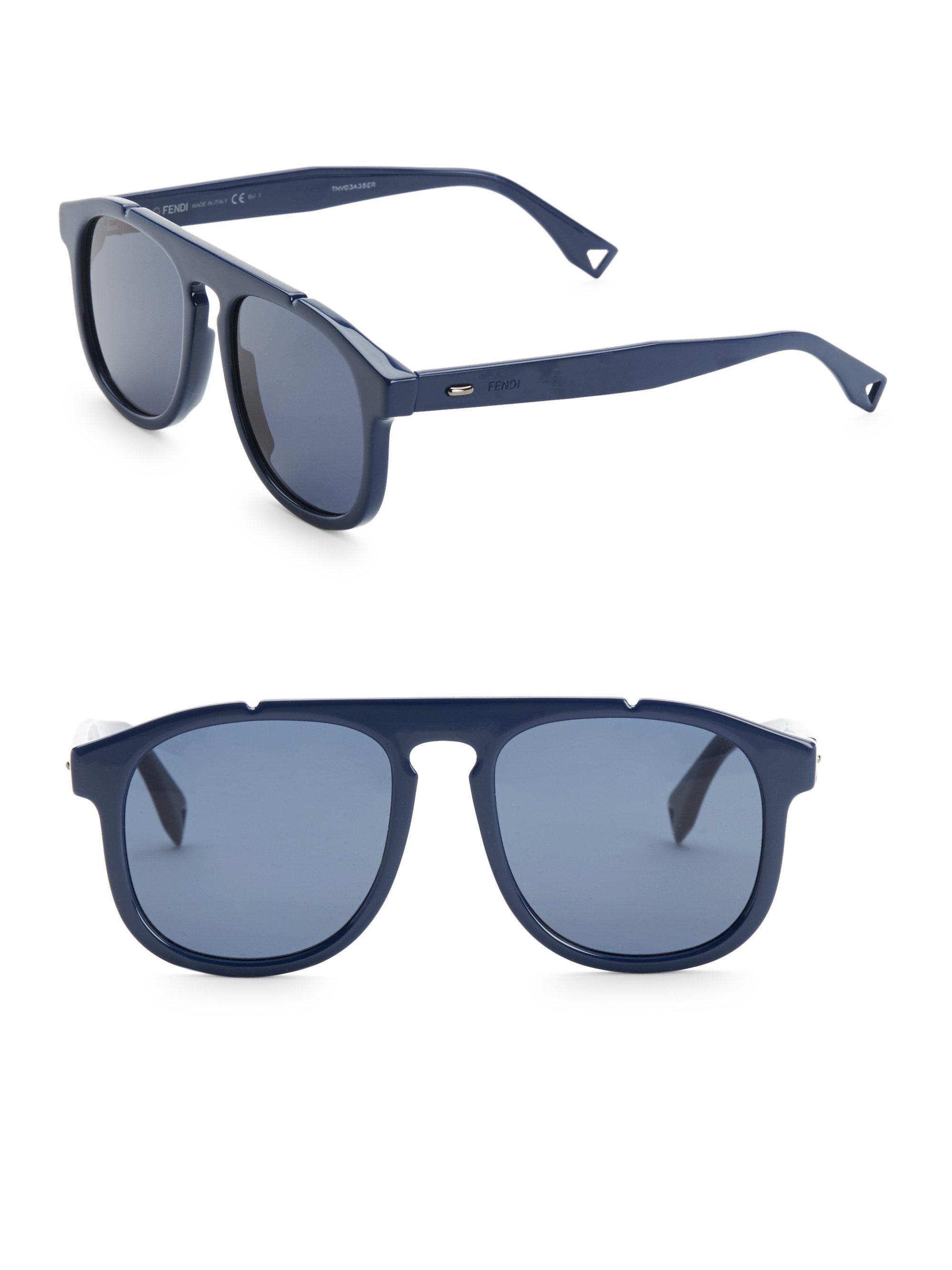 cdecd3d531 Fendi - Blue 54mm Pilot Sunglasses for Men - Lyst. View fullscreen