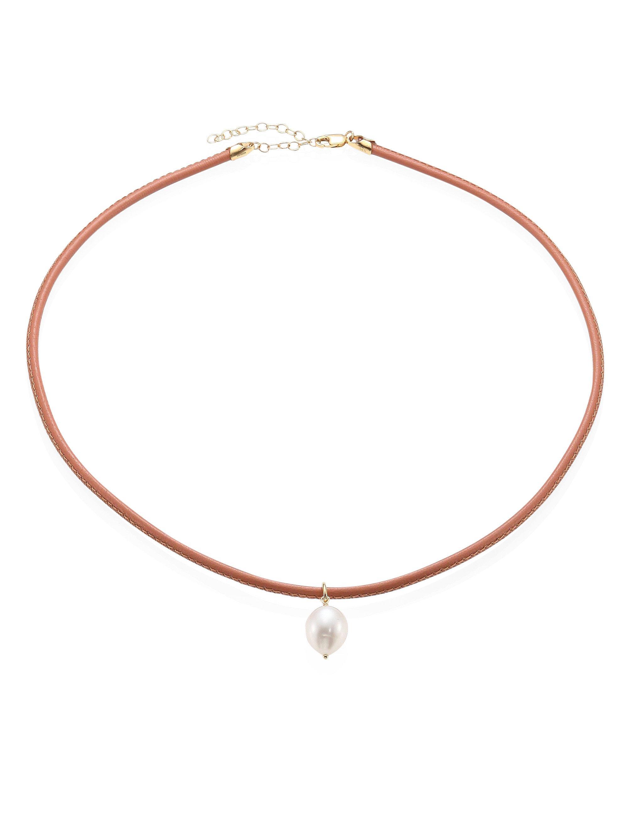 Mizuki Medium Single Pearl Collar Necklace oUm4uC61m