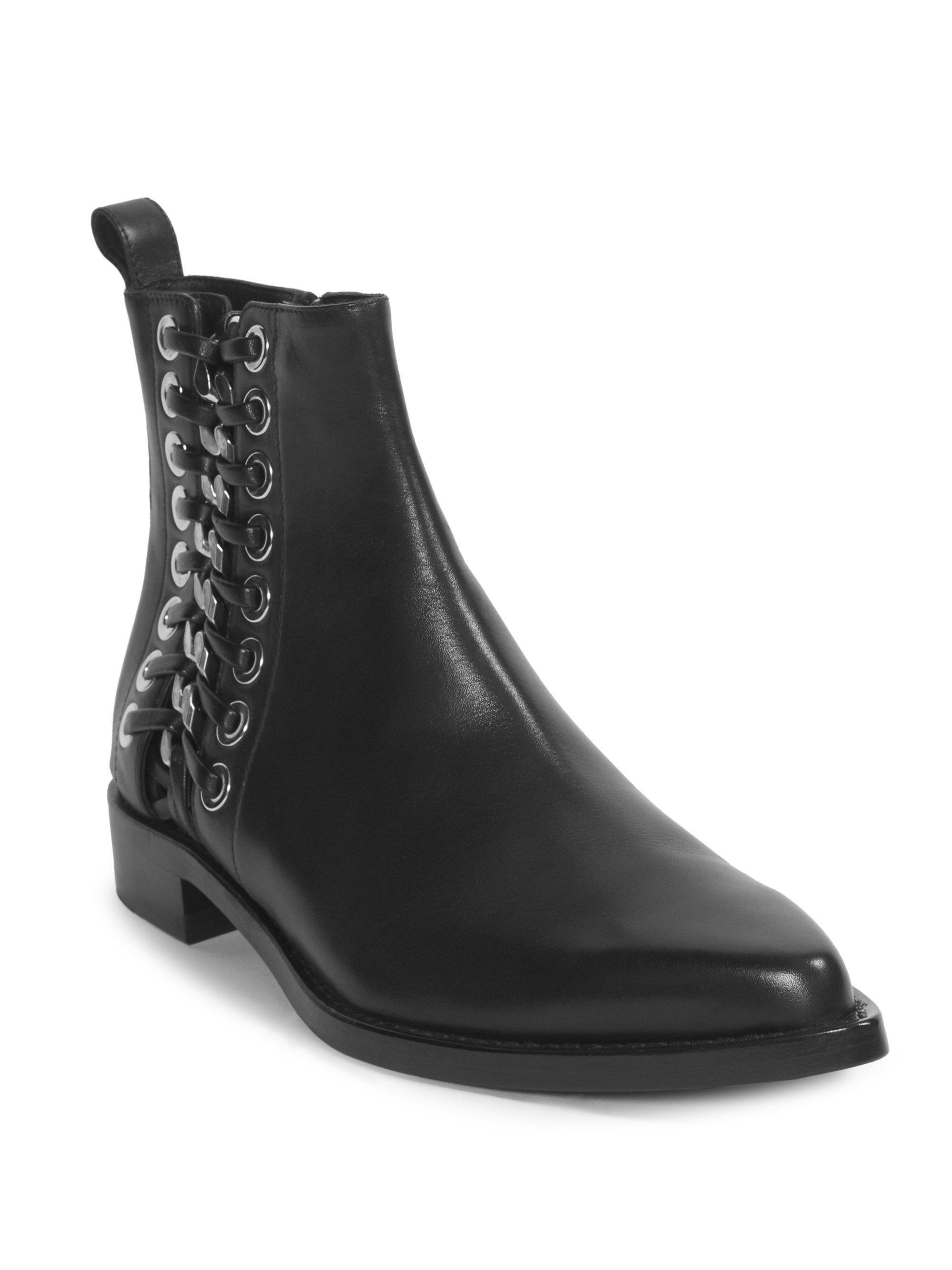 Alexander McQueen Side Detail Leather Booties 8Fn1CT63