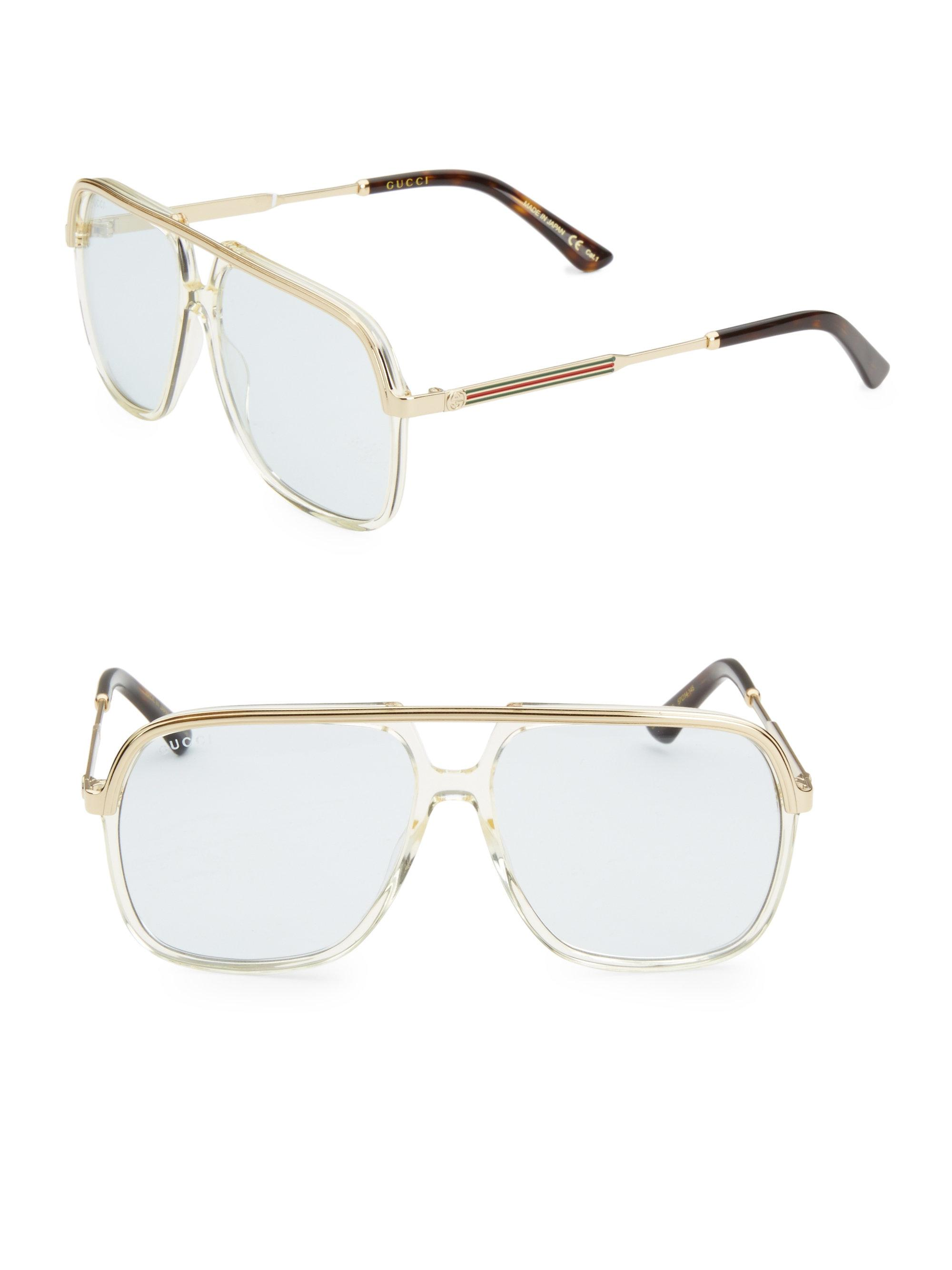 cd82814df5 Lyst - Gucci 57mm Aviator Logo Sunglasses in Yellow for Men