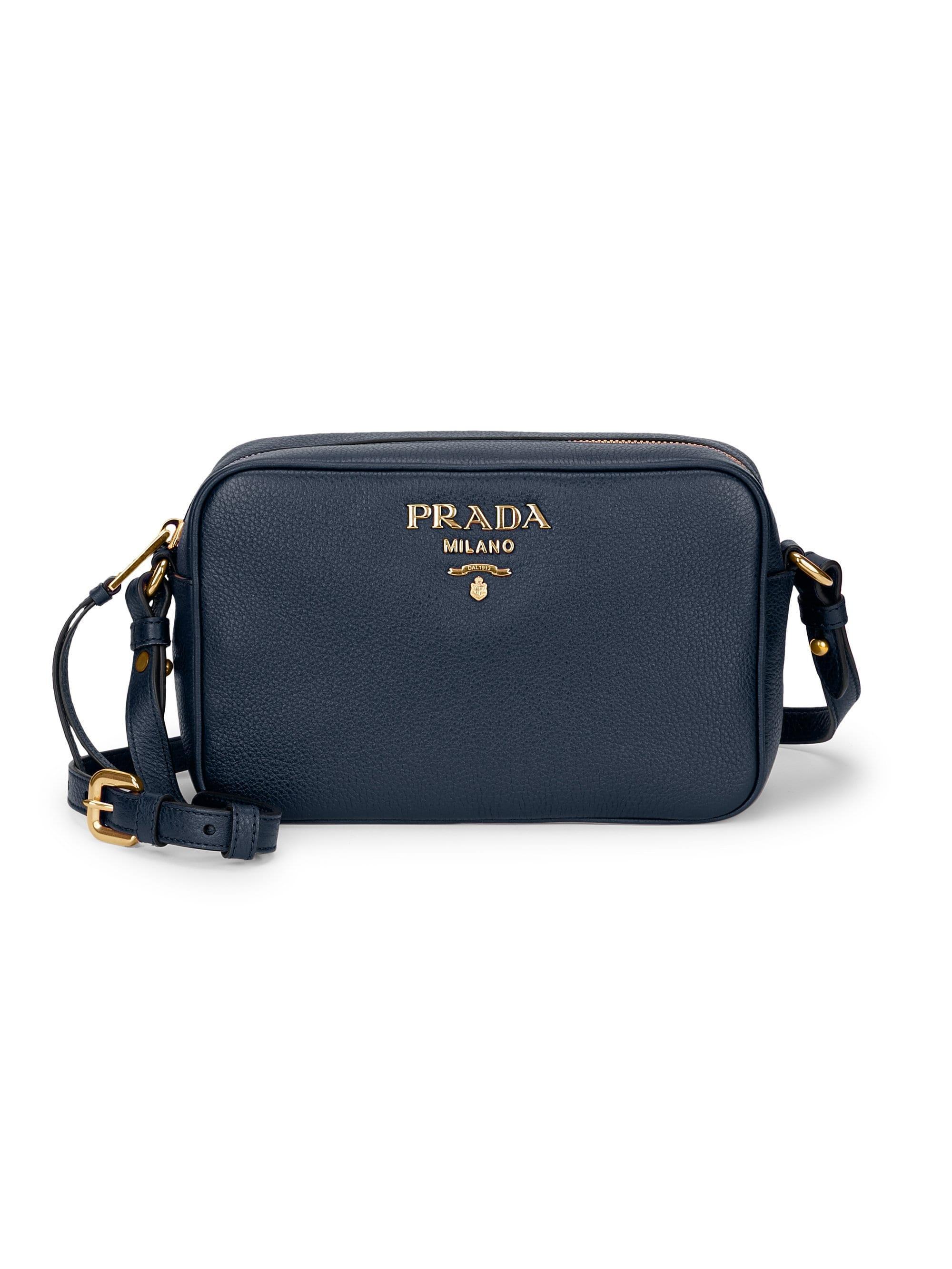 eb34109f83 Lyst - Prada Daino Textured Leather Mini Crossbody Bag in Blue