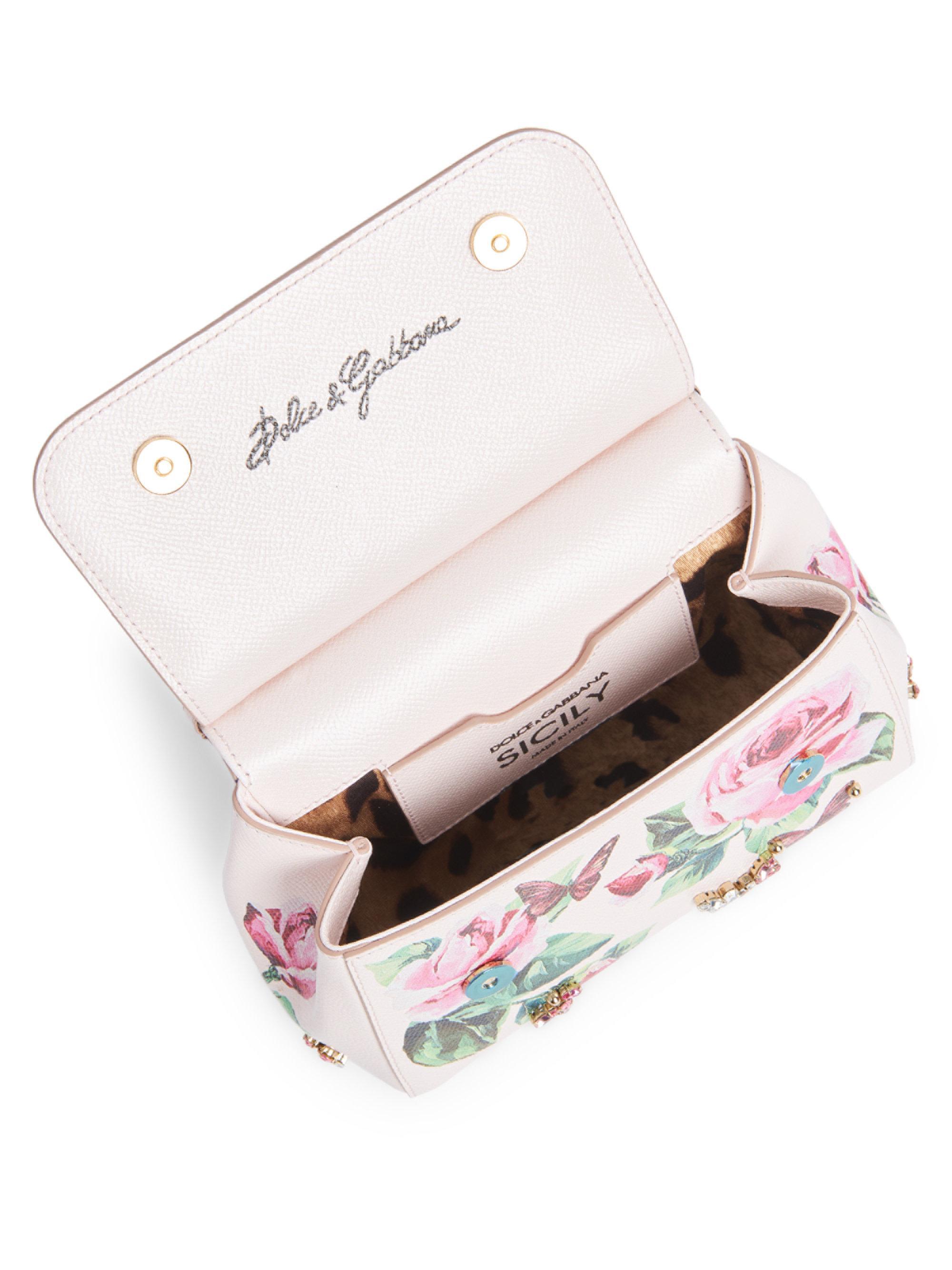 64900170 Dolce & Gabbana Rose & Butterfly Print Shoulder Bag in White - Lyst
