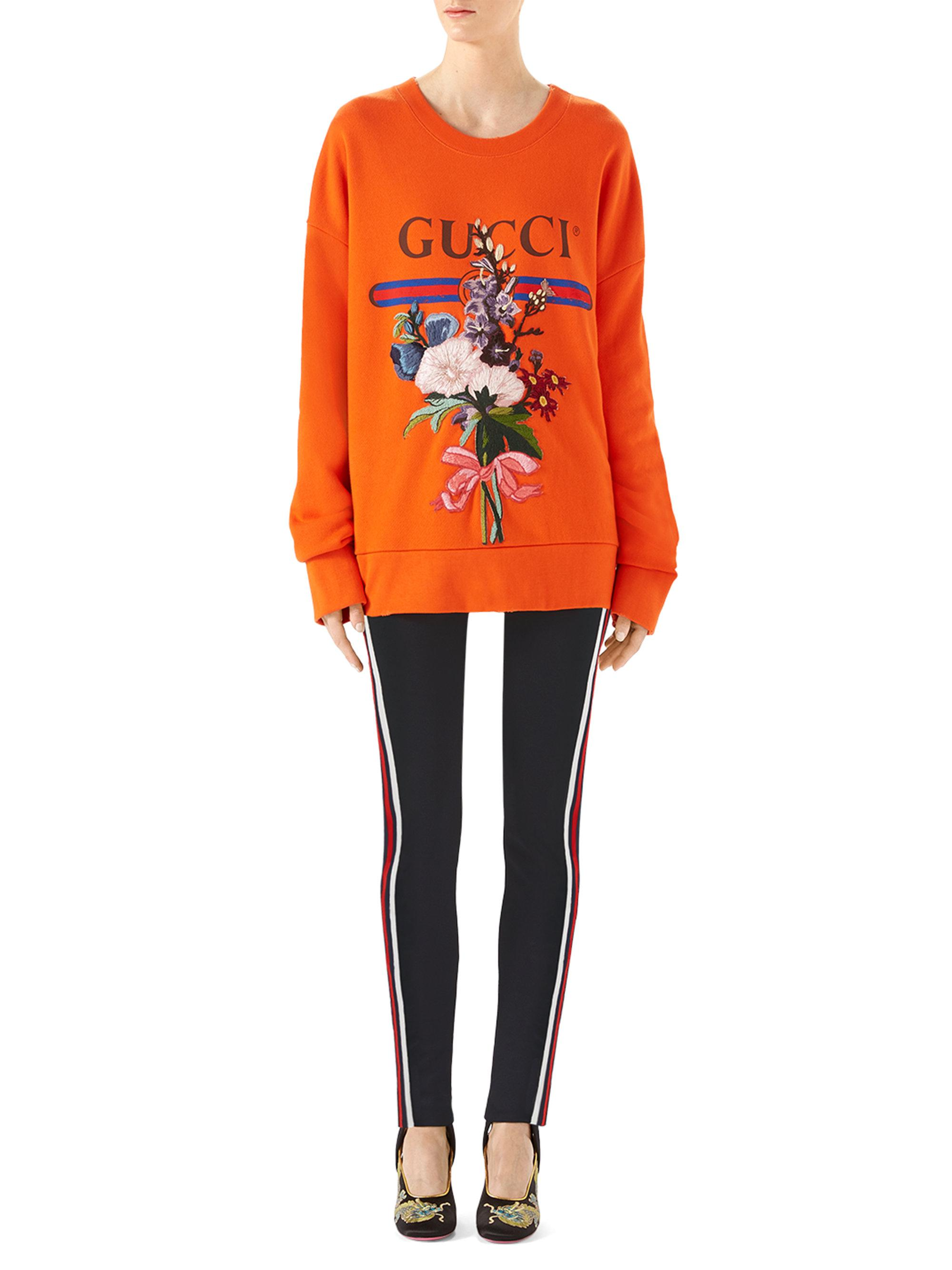 d3bc7d2fa783 Lyst - Gucci Logo Floral-embroidered Sweatshirt in Orange