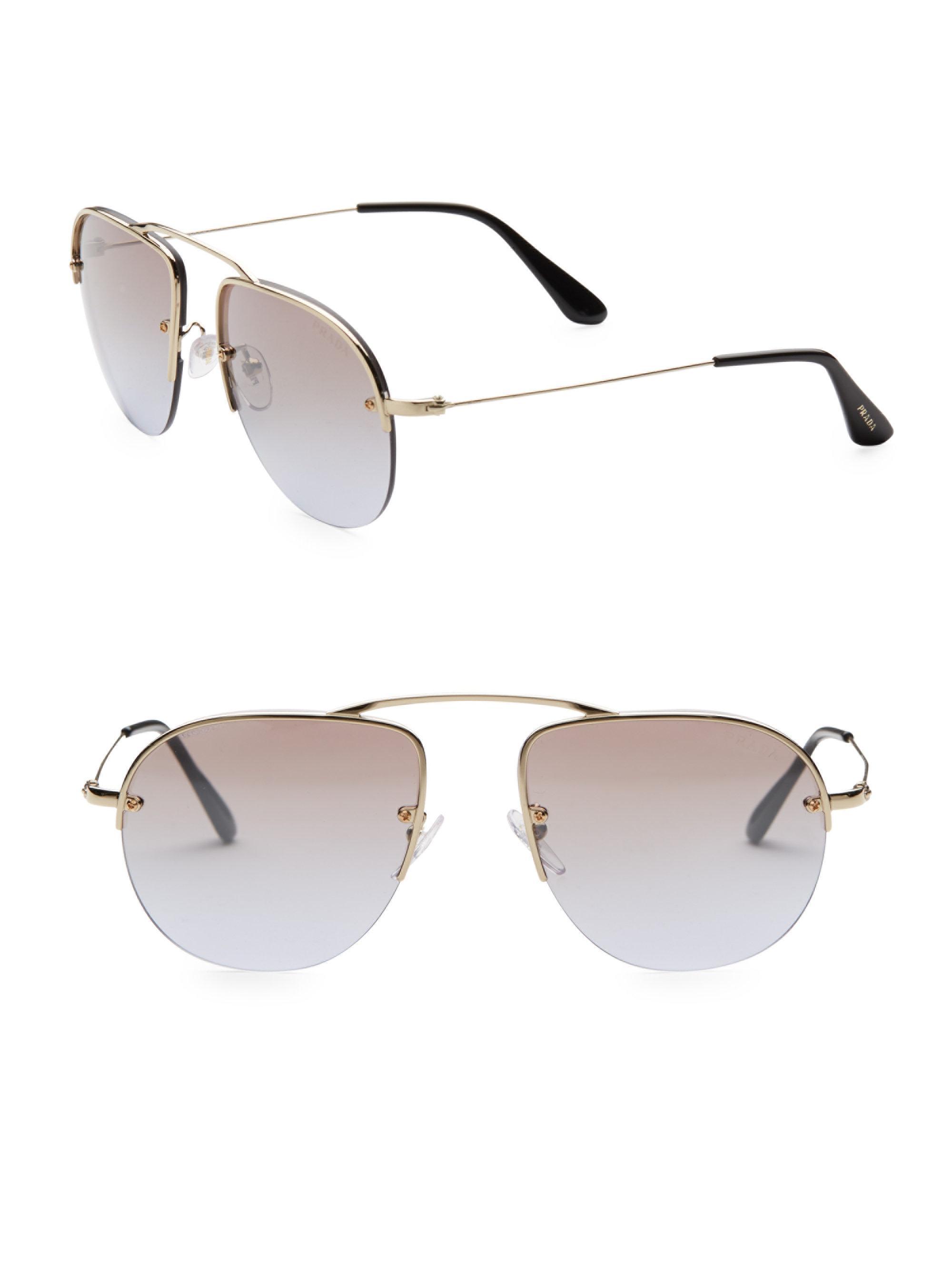 fe6f68110e ... purchase lyst prada teddy 55mm mirrored pilot sunglasses in metallic  16ba6 91203