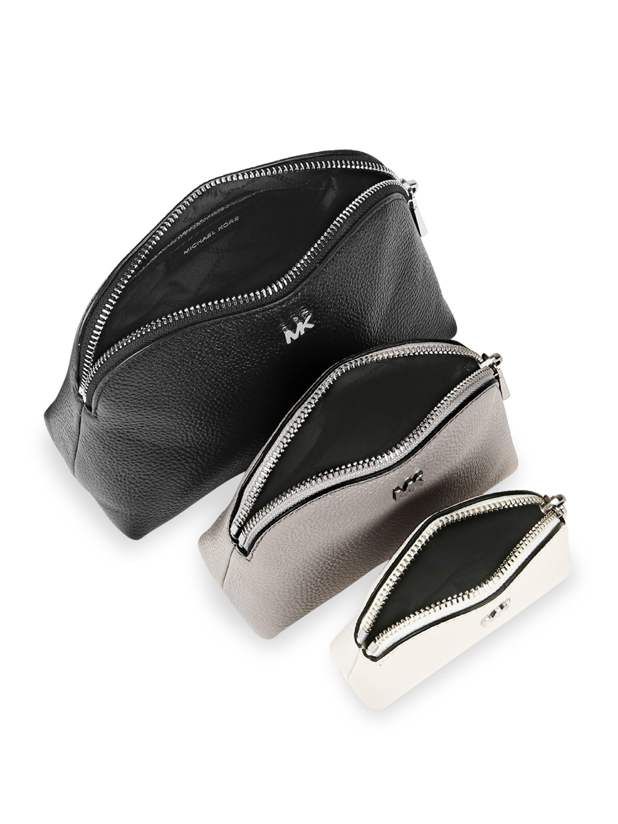 2d39b9e97186 Lyst - Michael Kors Leather Travel Pouch Trio in Black