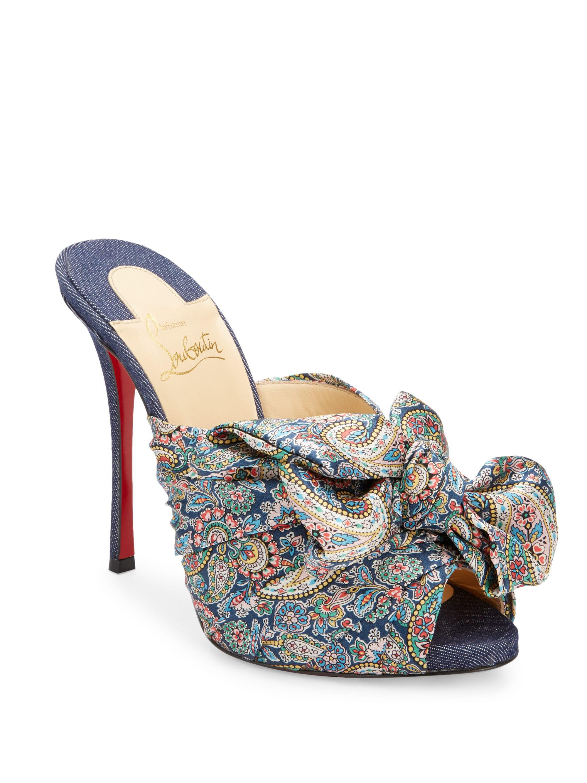 Moniquissima 120 paisley satin and denim mules Christian Louboutin M4LqNgT1