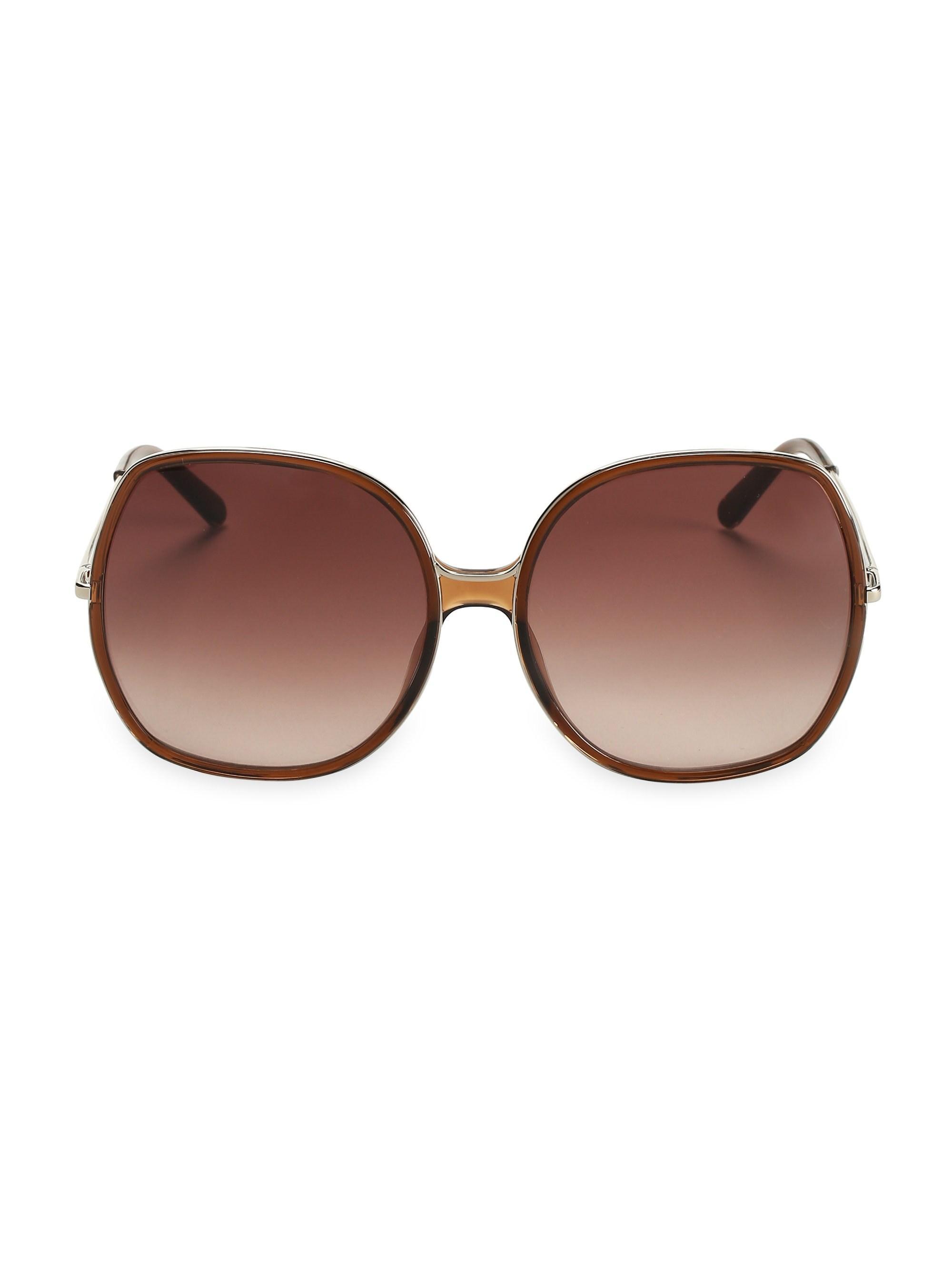 0a7cdf248a92 Lyst - Chloé Women s Turtledove 62mm Oversized Round Sunglasses ...