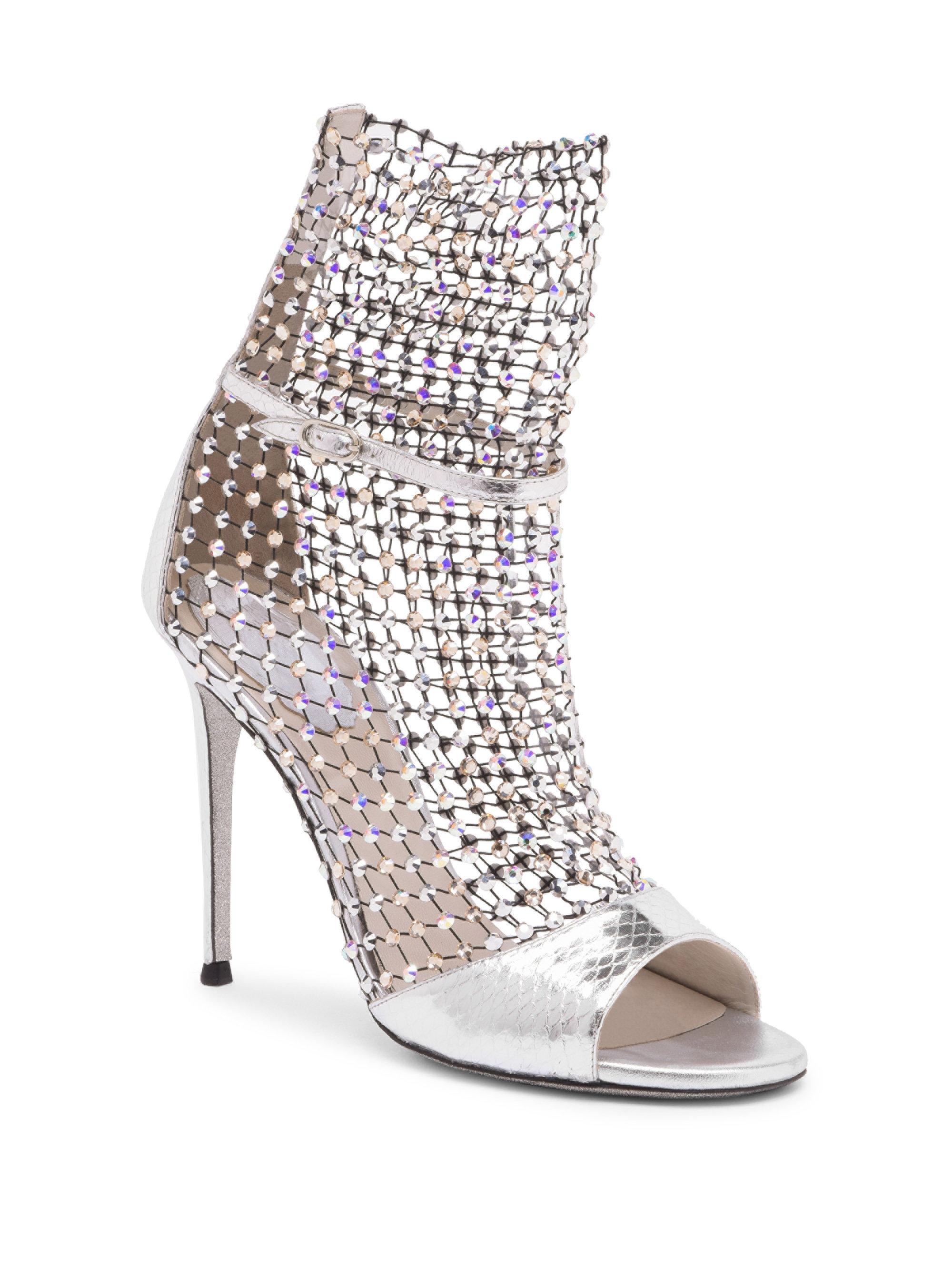 RENé CAOVILLA Crystal Mesh Ayers Snake Leather Open-Toe Ankle Boots lHFf3H2FN