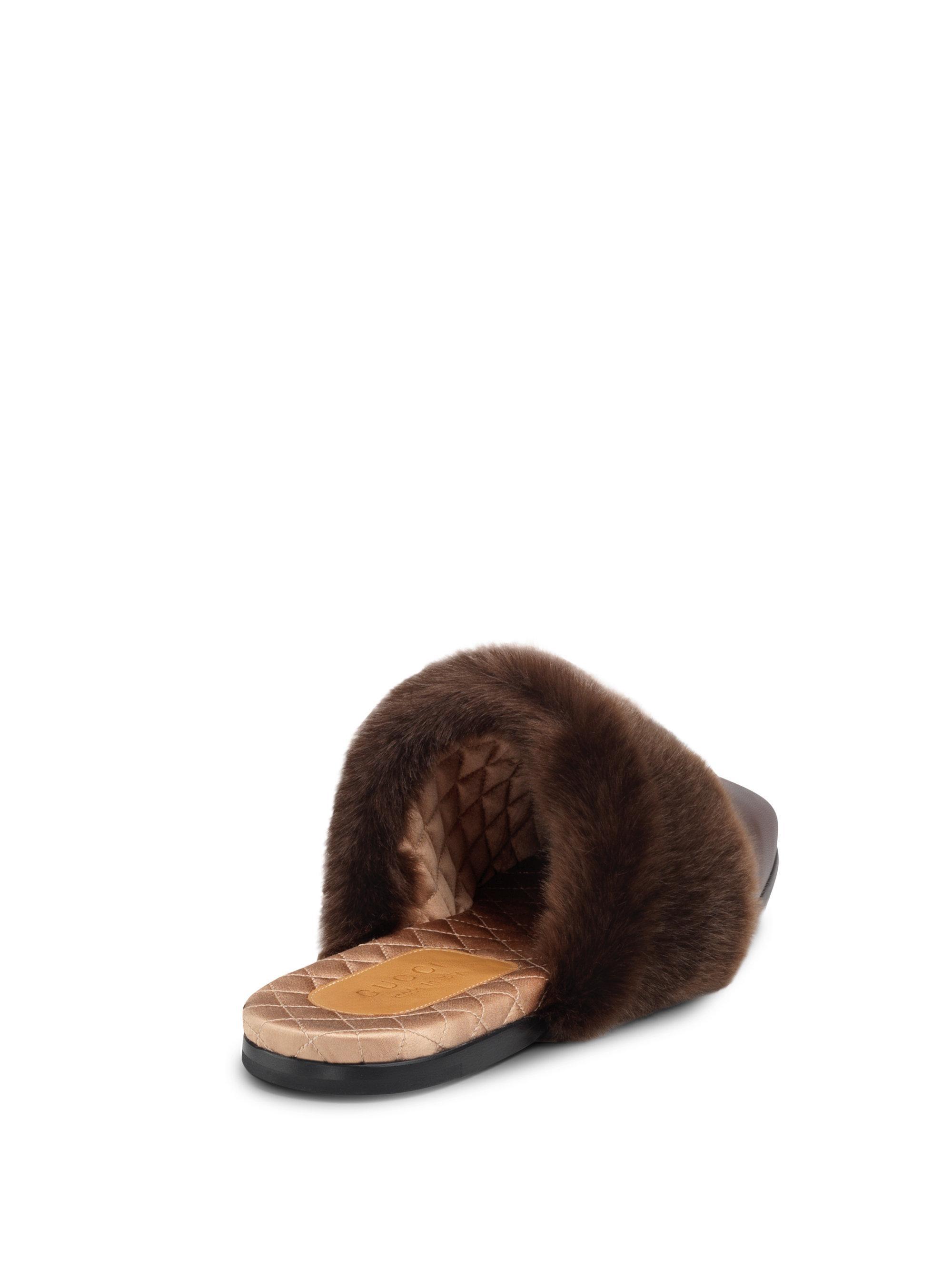 c7I8piMRQL Lawrence Faux Fur-Trim Leather Mule Slippers