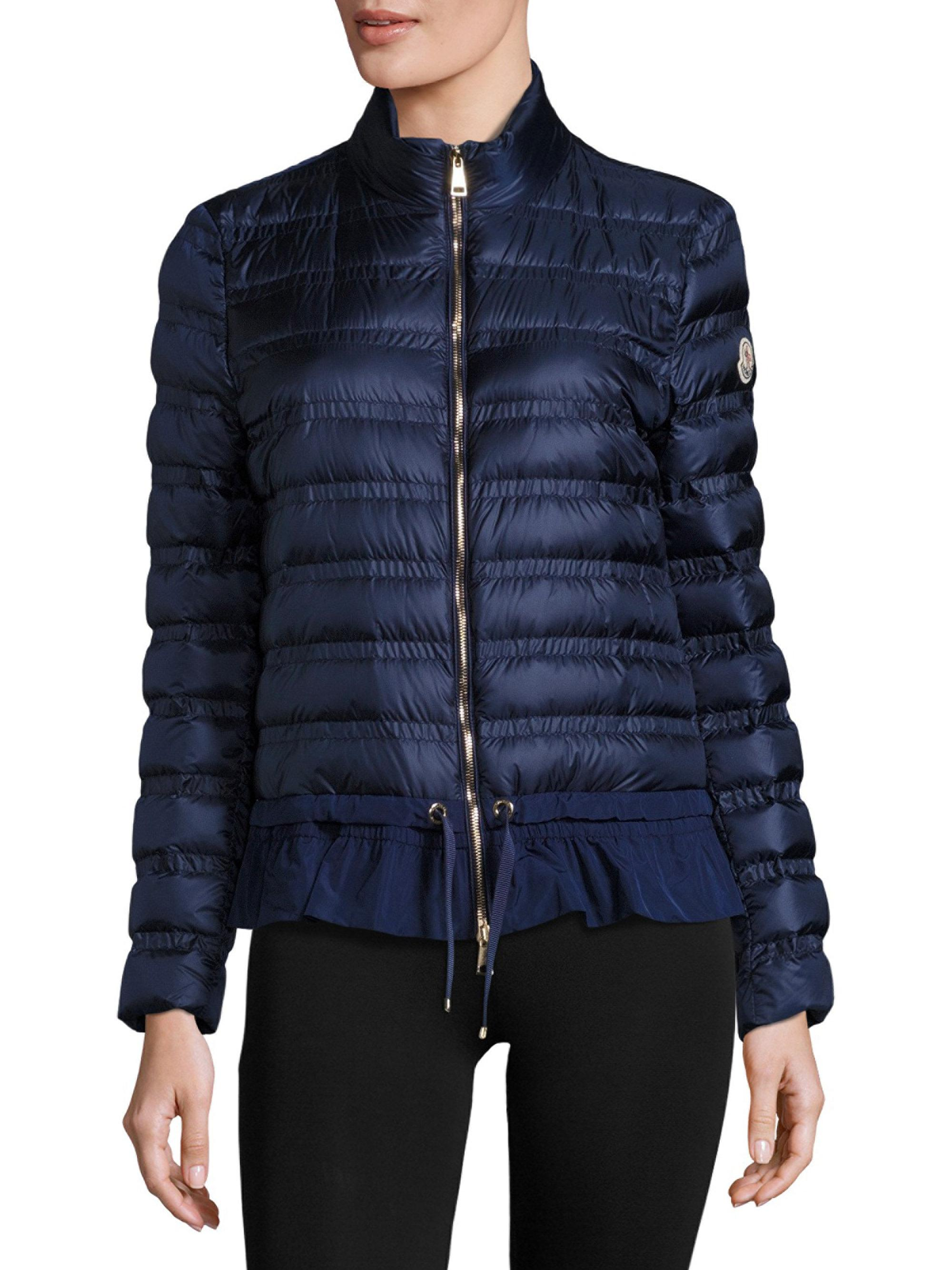 Moncler Anemone Short Peplum Jacket in Blue | Lyst