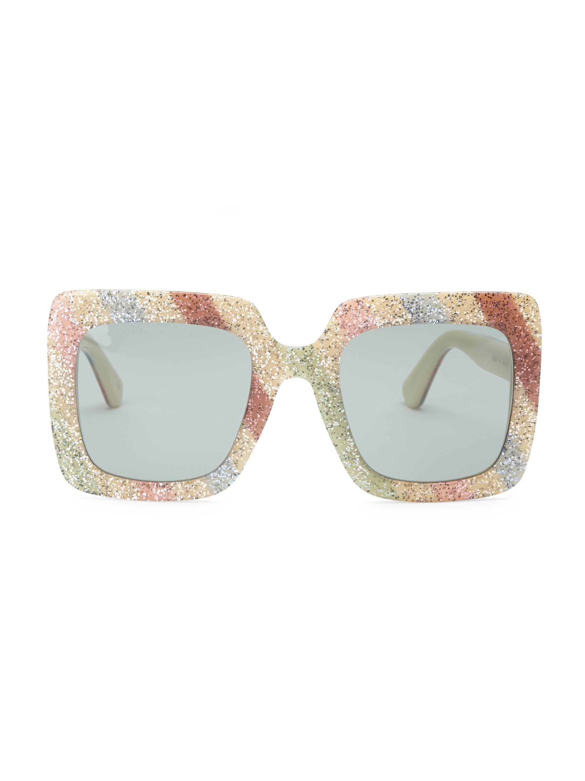2e469180ba544 Lyst - Gucci Women s White Glitter Oversized Rectangular Sunglasses 53mm