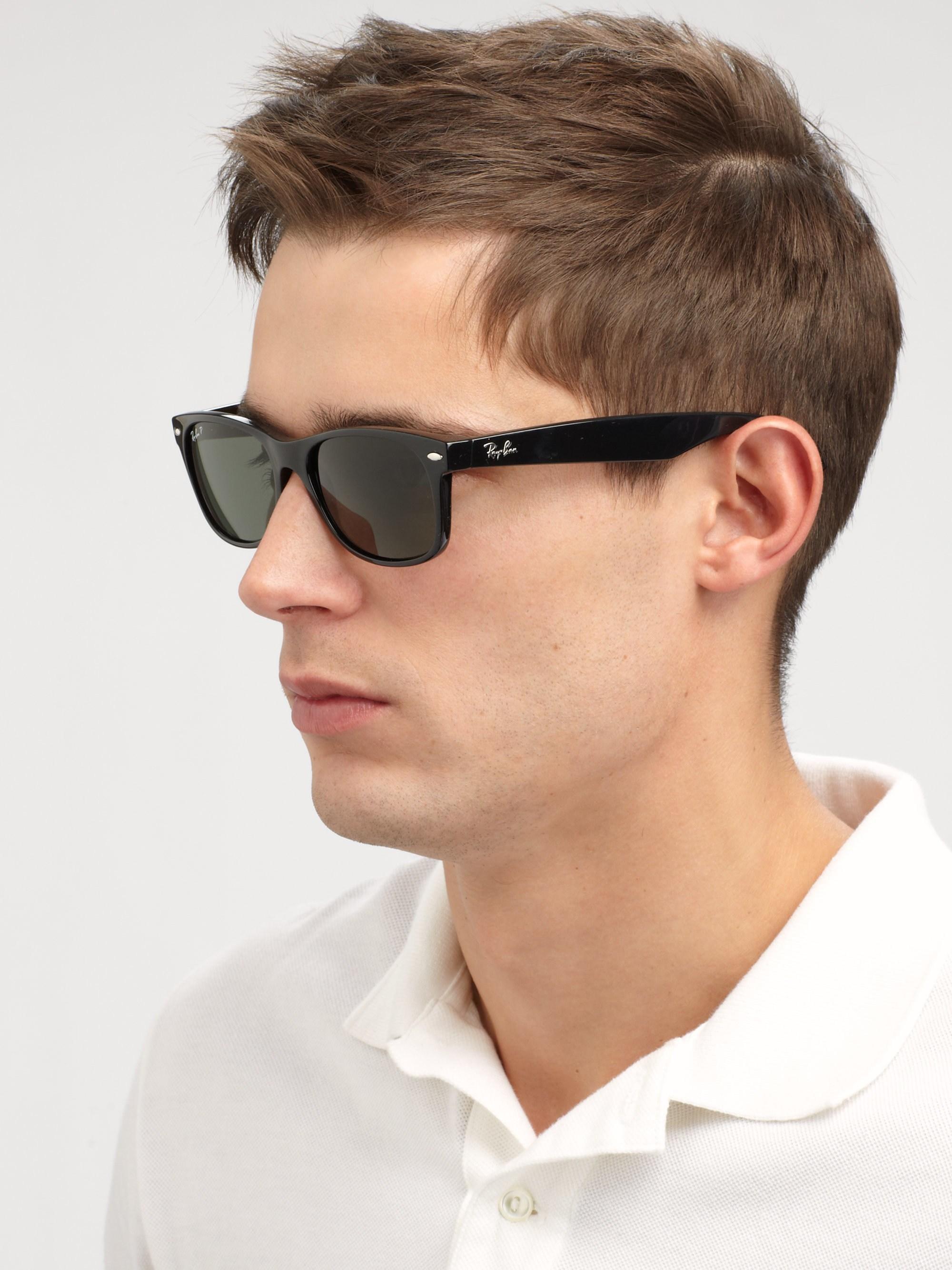 1178afd6175 Ray-Ban - Men s 55mm New Wayfarer Sunglasses - Black Polarized for Men -  Lyst. View fullscreen