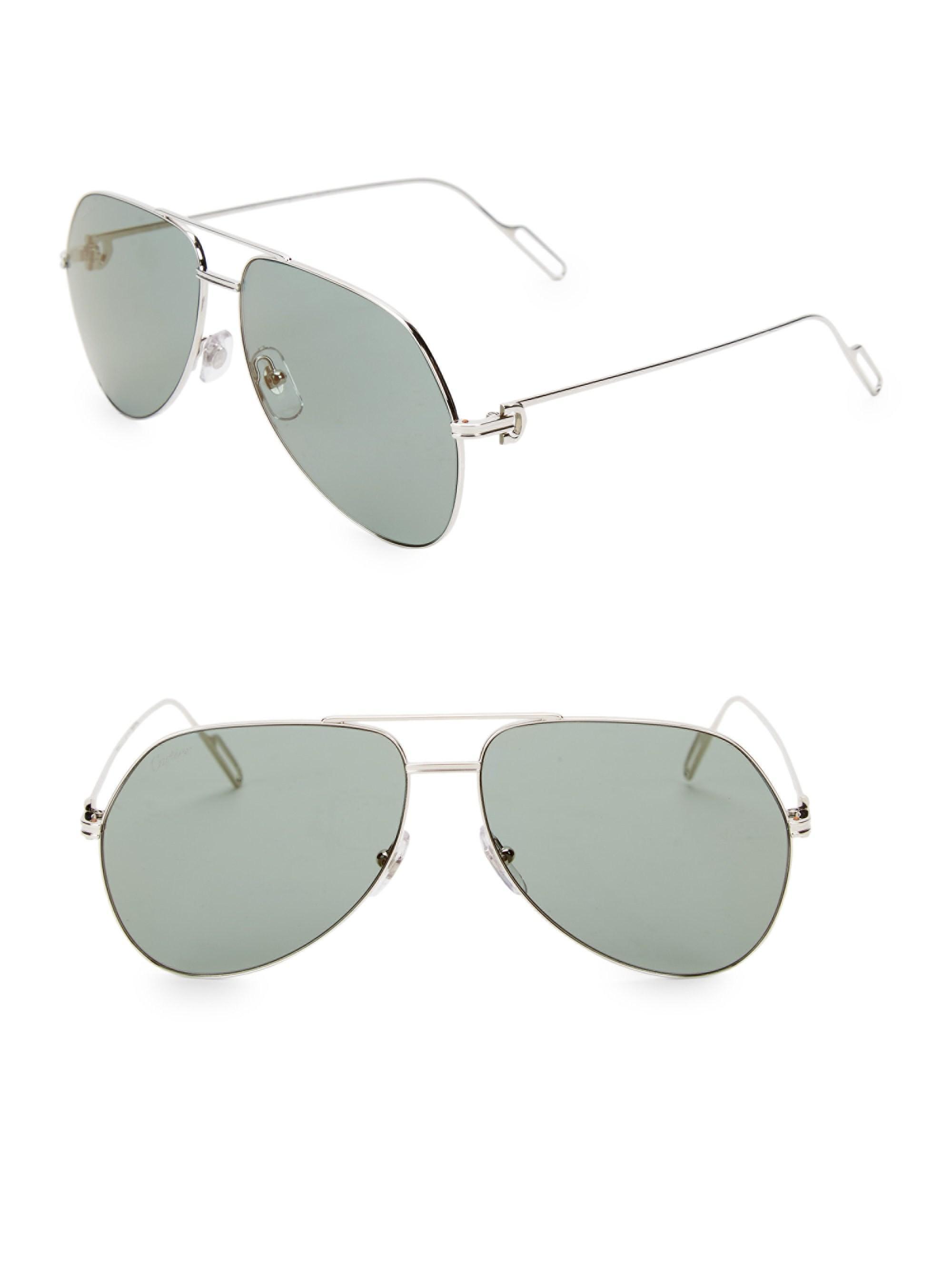 3bb37f39a2 Cartier 60mm Metal Aviator Sunglasses in Metallic for Men - Lyst