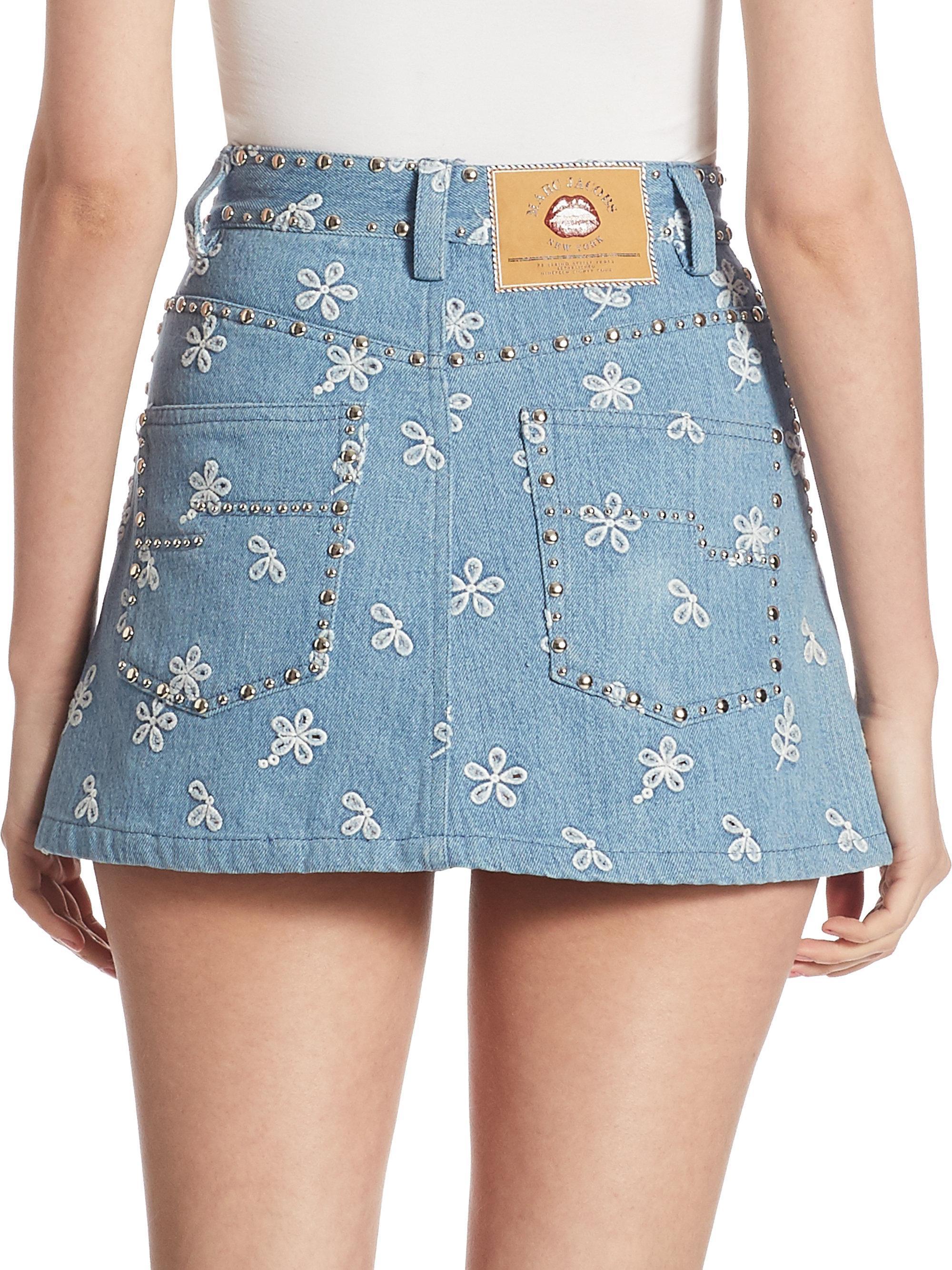 df64cb58ce Lyst - Marc Jacobs Studded Denim Mini Skirt in Blue
