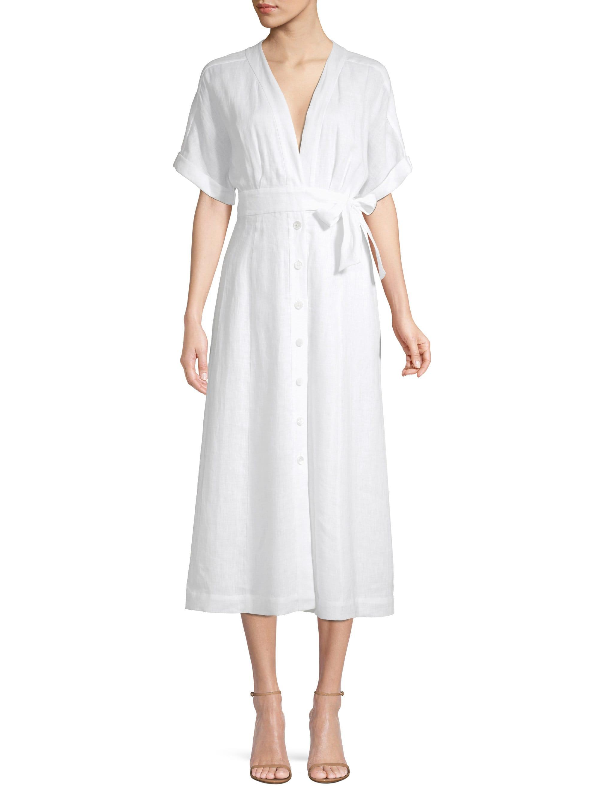 b6e9dbd153 Lyst - Equipment Women s Nauman Linen Wrap Shirtdress - Bright White ...