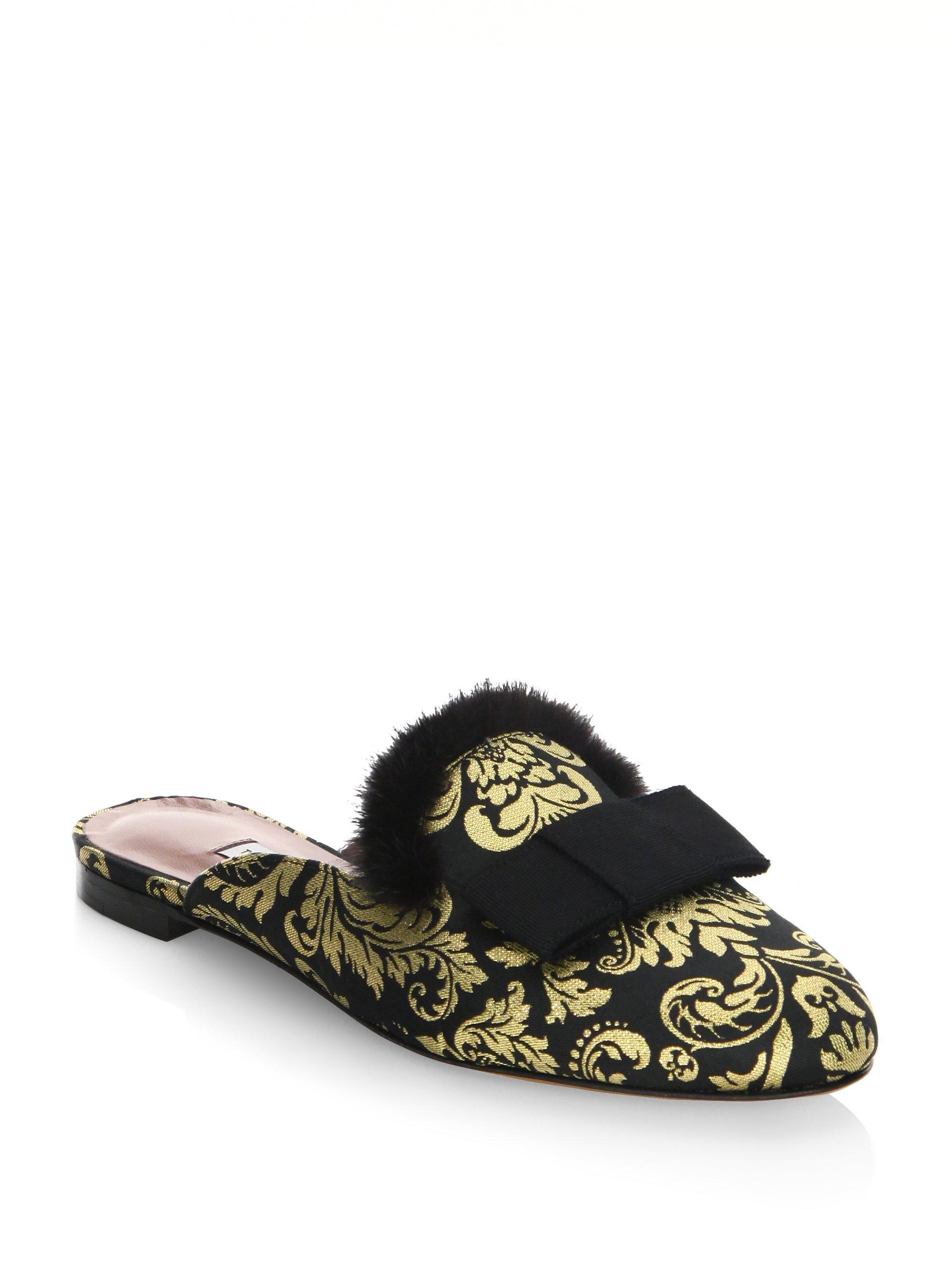 Tabitha Simmons Masha Mink Fur-Trimmed Velvet Mules U3wrbCQ