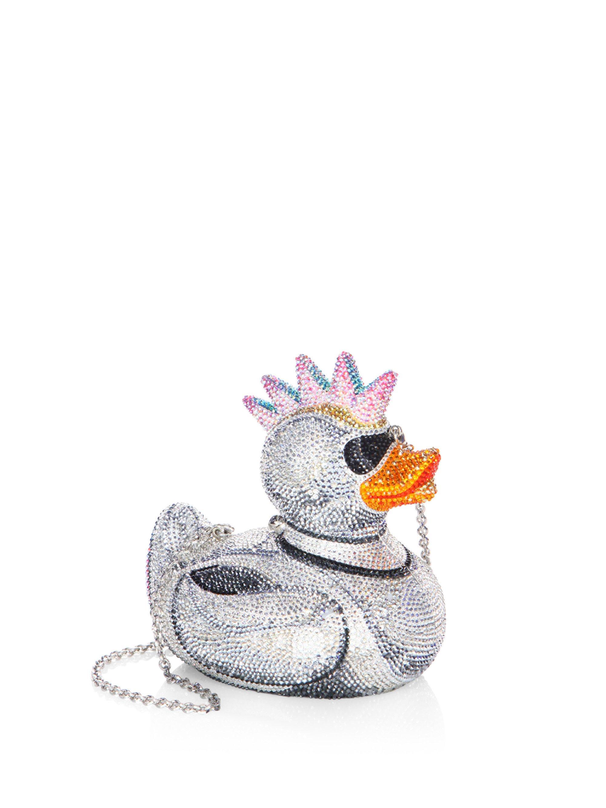 411112470 Judith Leiber Punk Duck Crystal Clutch Bag In Metallic Lyst