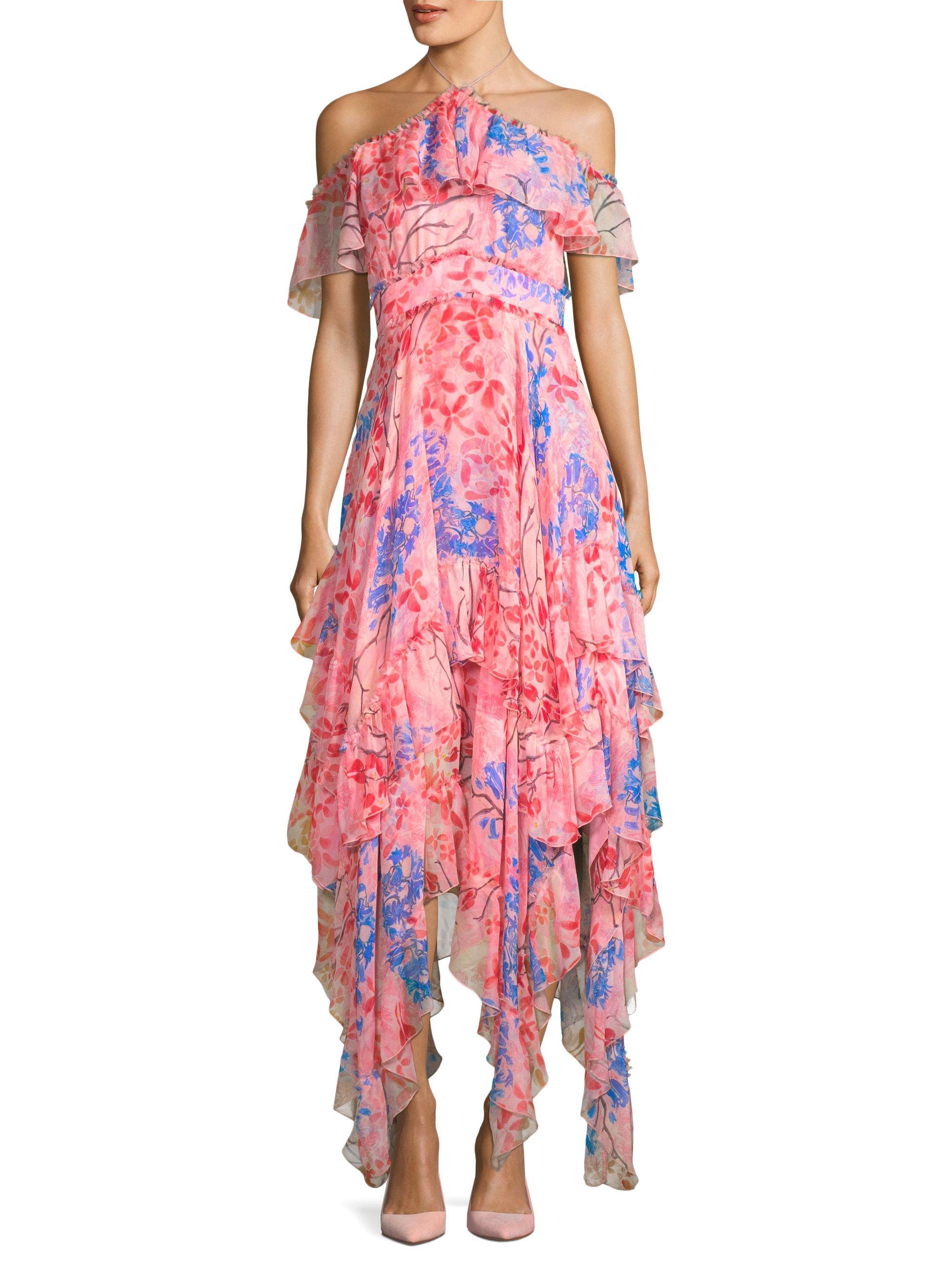 8dc72d357d Alice + Olivia Galina Handkerchief Maxi Dress in Pink - Lyst