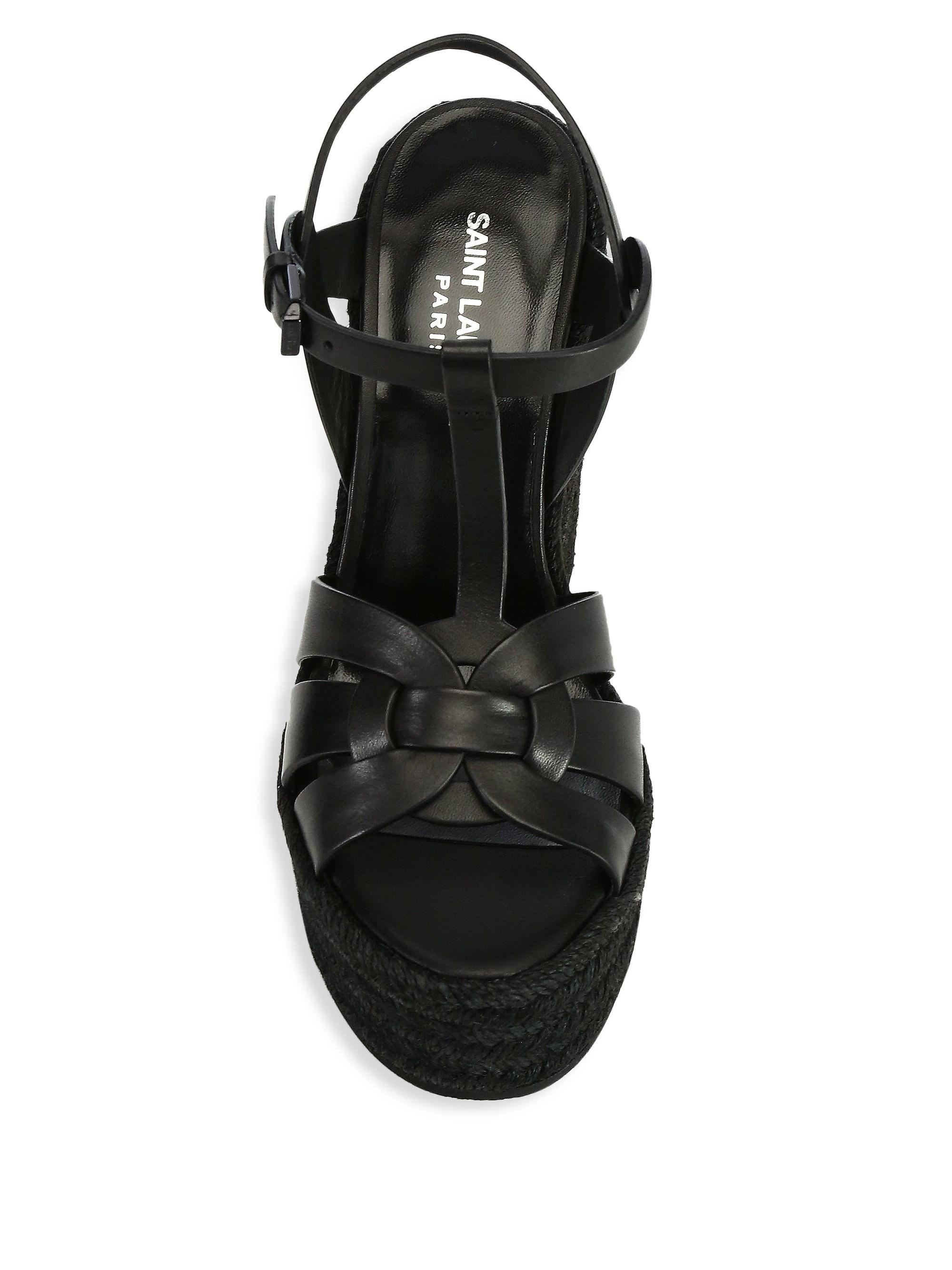 a0c3c9f578d98 Saint Laurent - Black Wedge Sandals St - Lyst. View fullscreen
