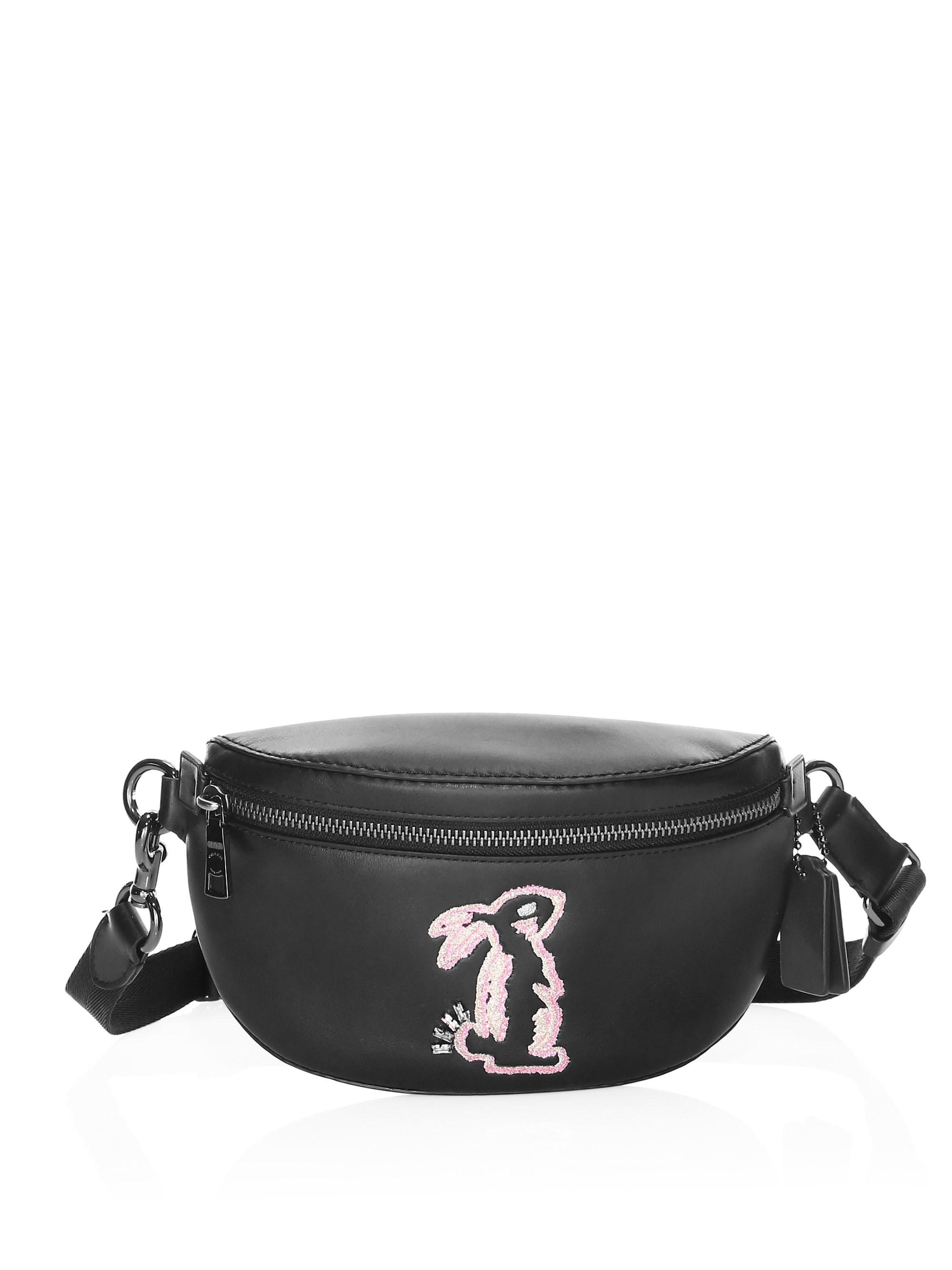 6a1ac05843e7f Lyst - COACH X Selena Gomez Bunny Belt Bag in Black