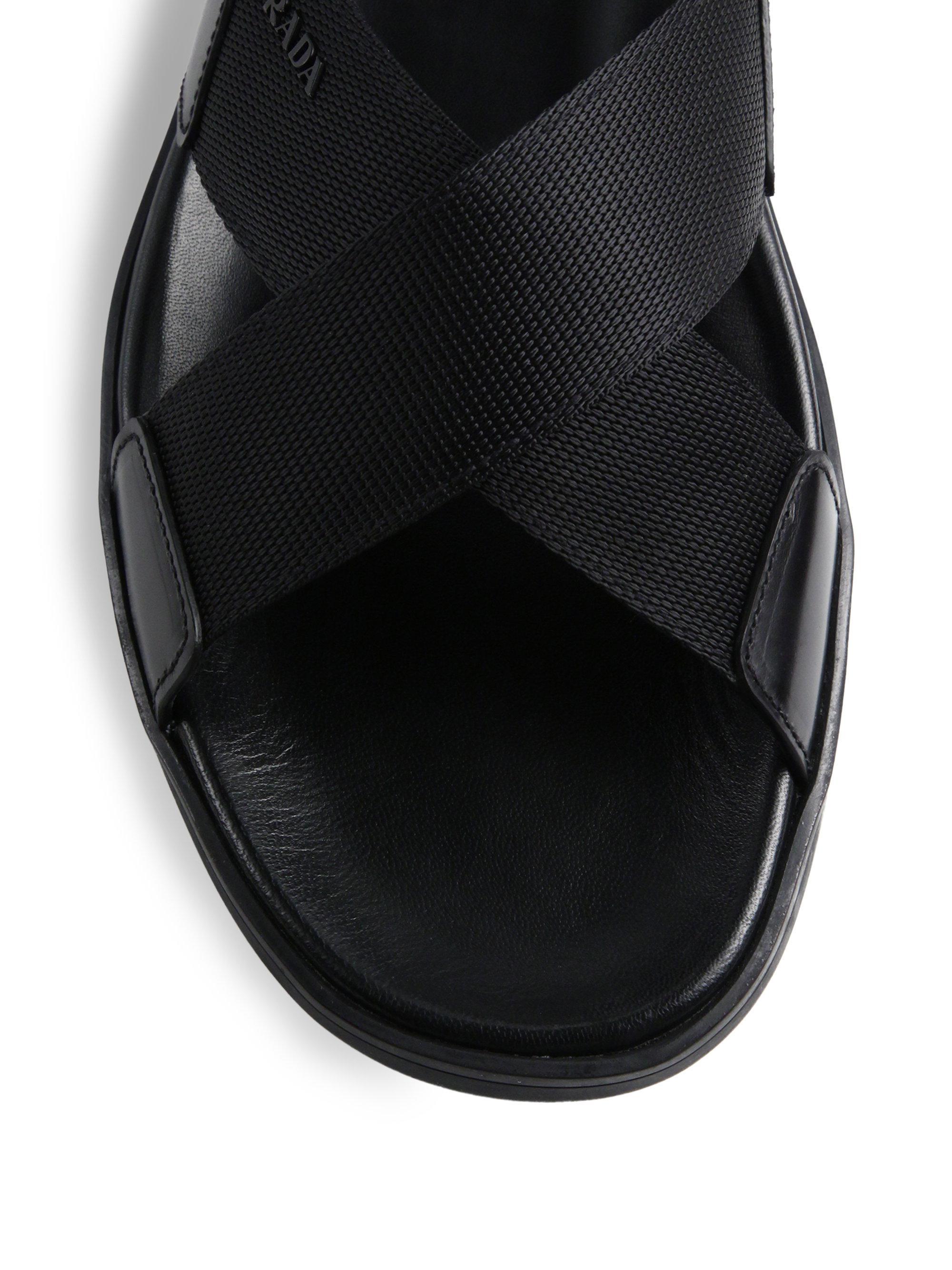 db0aba79d20106 Lyst - Prada Nylon Cross-strap Sandals in Black for Men