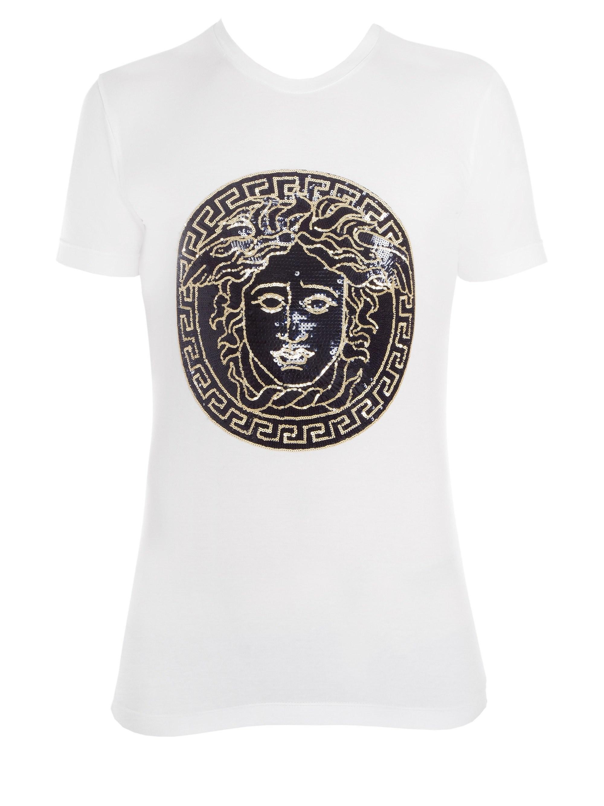 c198740177a5d3 Versace Full Medusa Embellished T-shirt in White for Men - Lyst