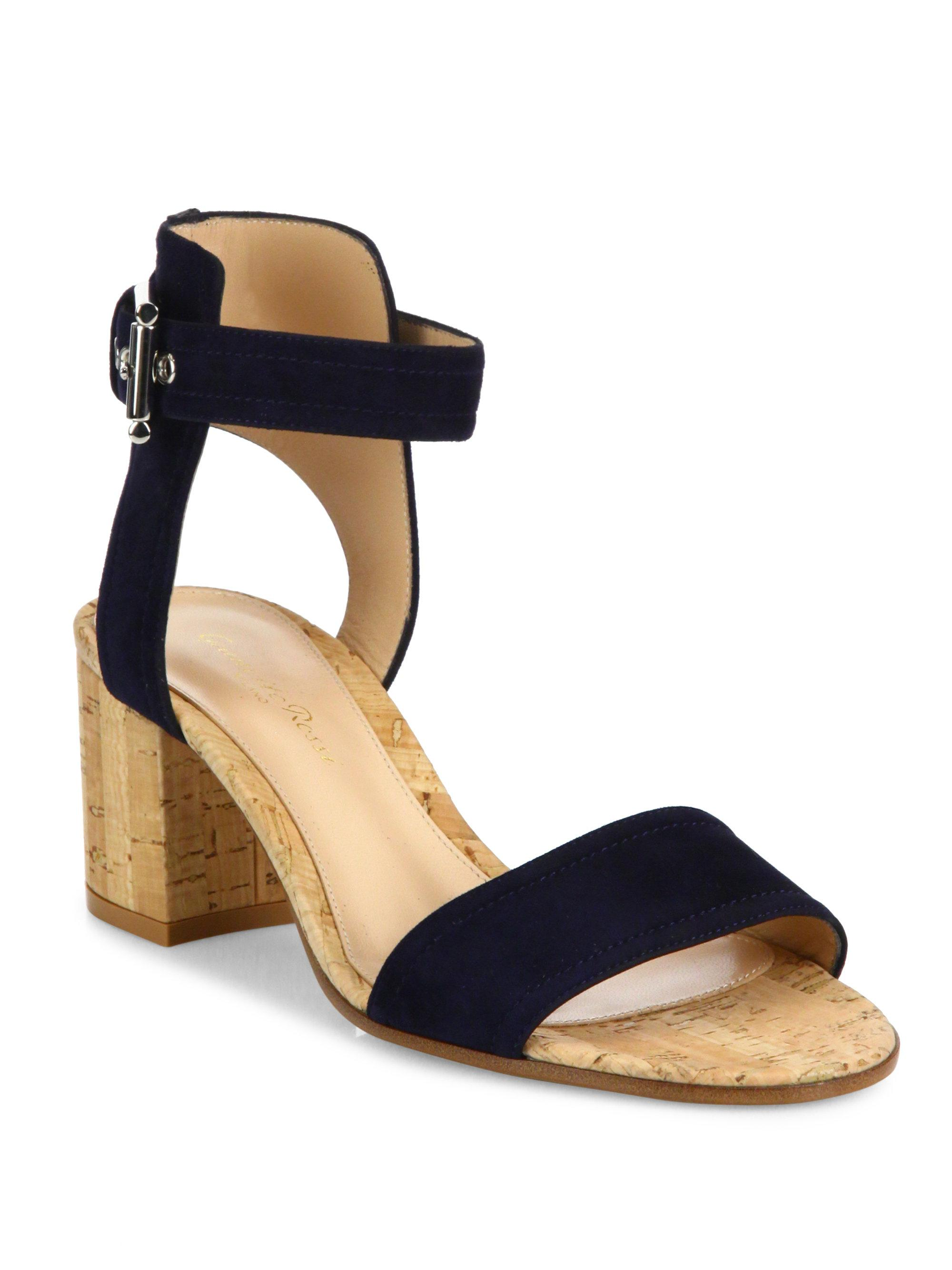 Gianvito Rossi. Women's Blue Suede Cork-heel City Sandals