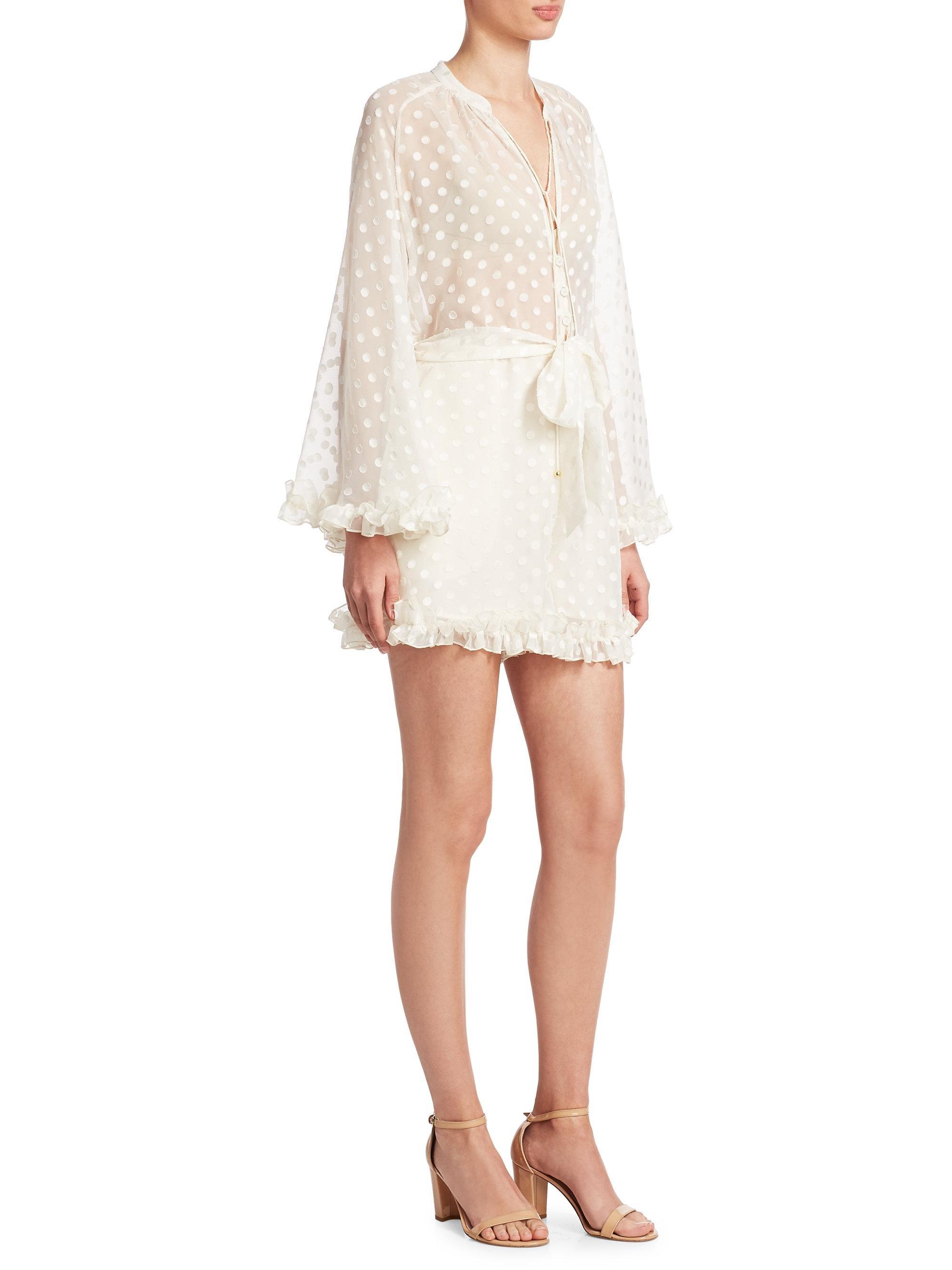 ac91c8420c Lyst - Zimmermann Golden Crinkle Playsuit in White