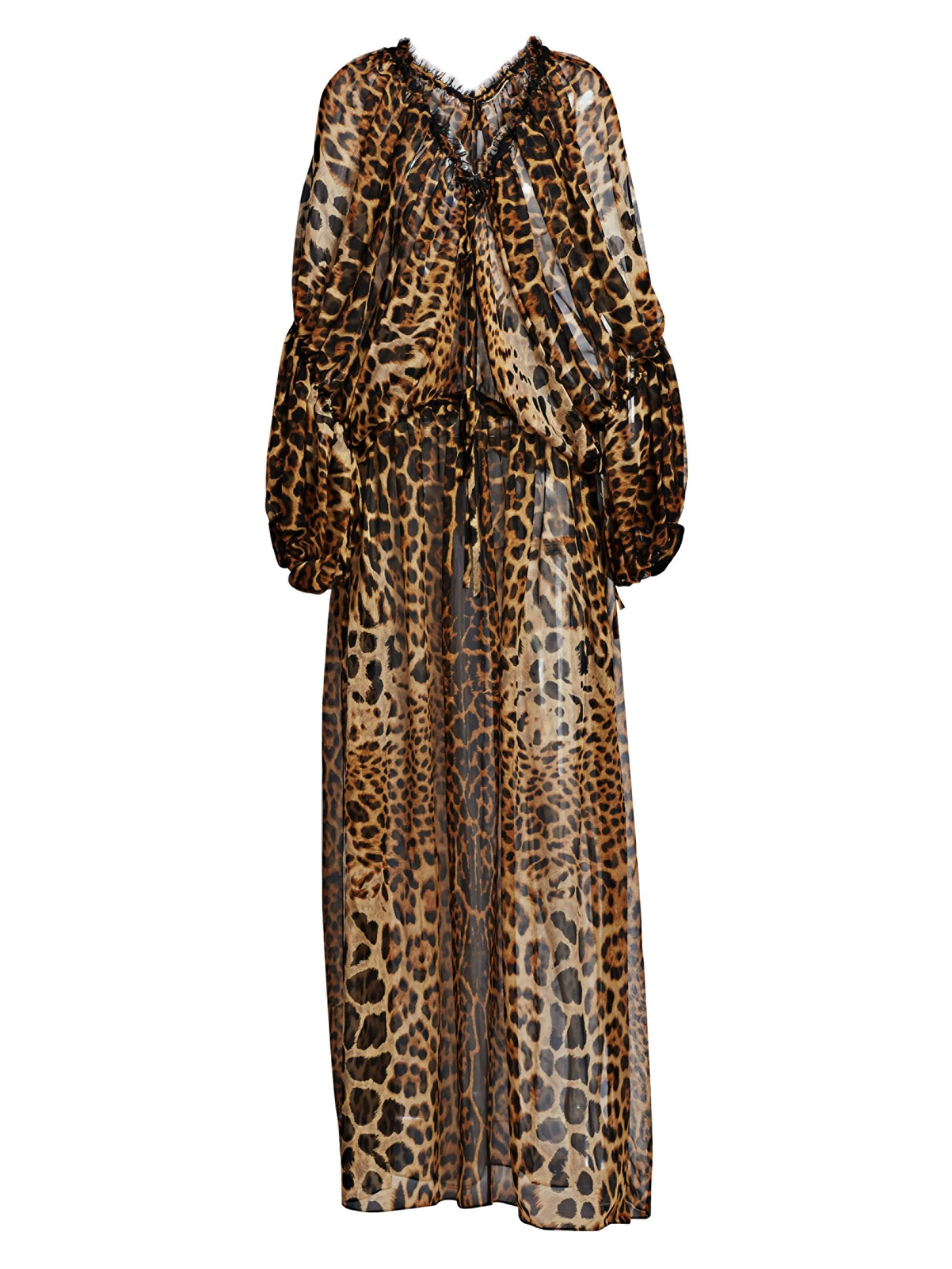 cdaf2020cb5 Lyst - Saint Laurent Women s Mousseline Leopard Print Silk Dress ...