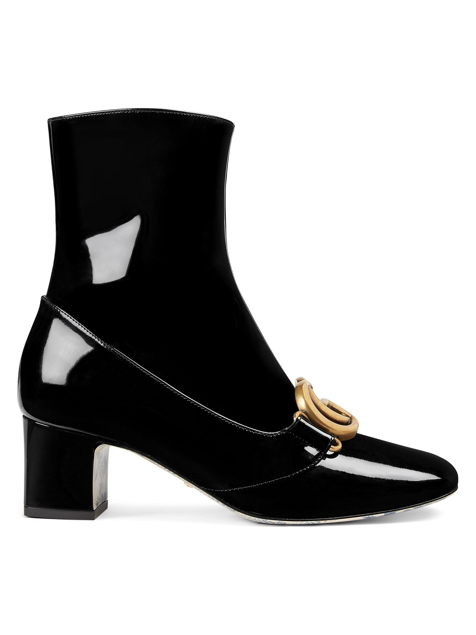 39166c7c1 Gucci Women's Patent Leather Ankle Boot With Double G - Black in ...